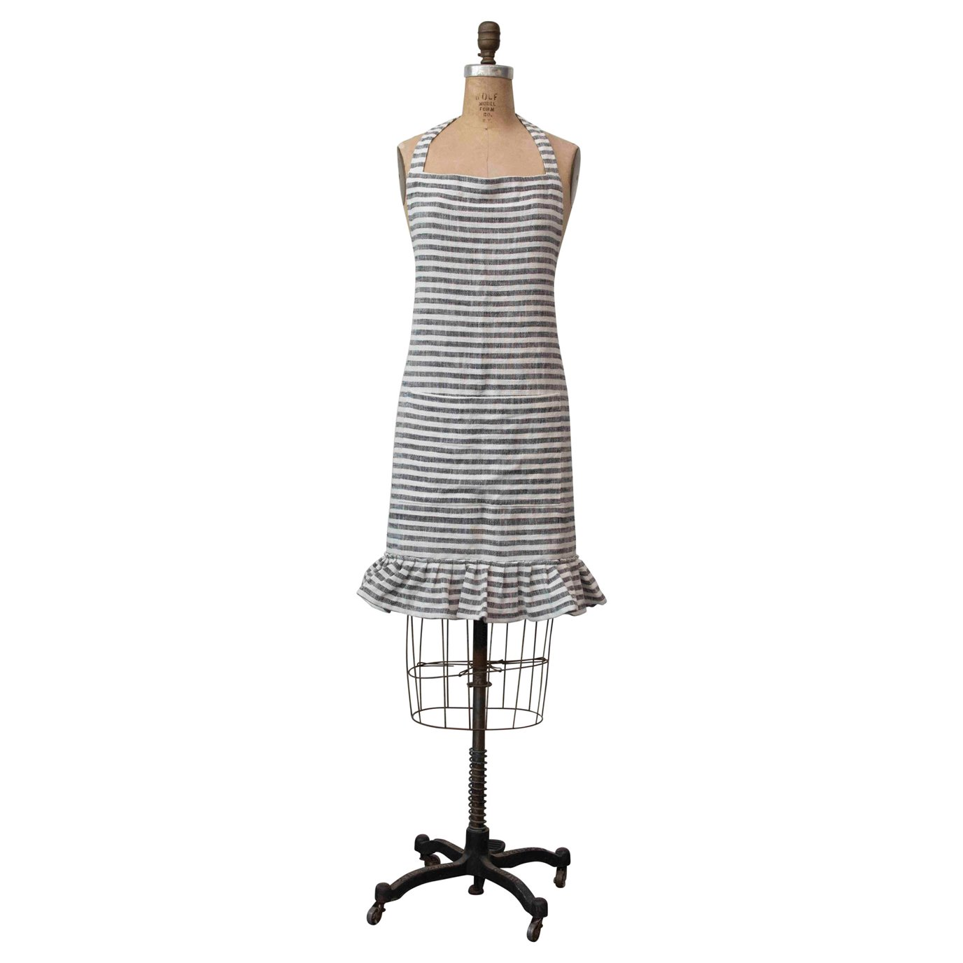 Ruffled Cotton Striped Apron with Pocket