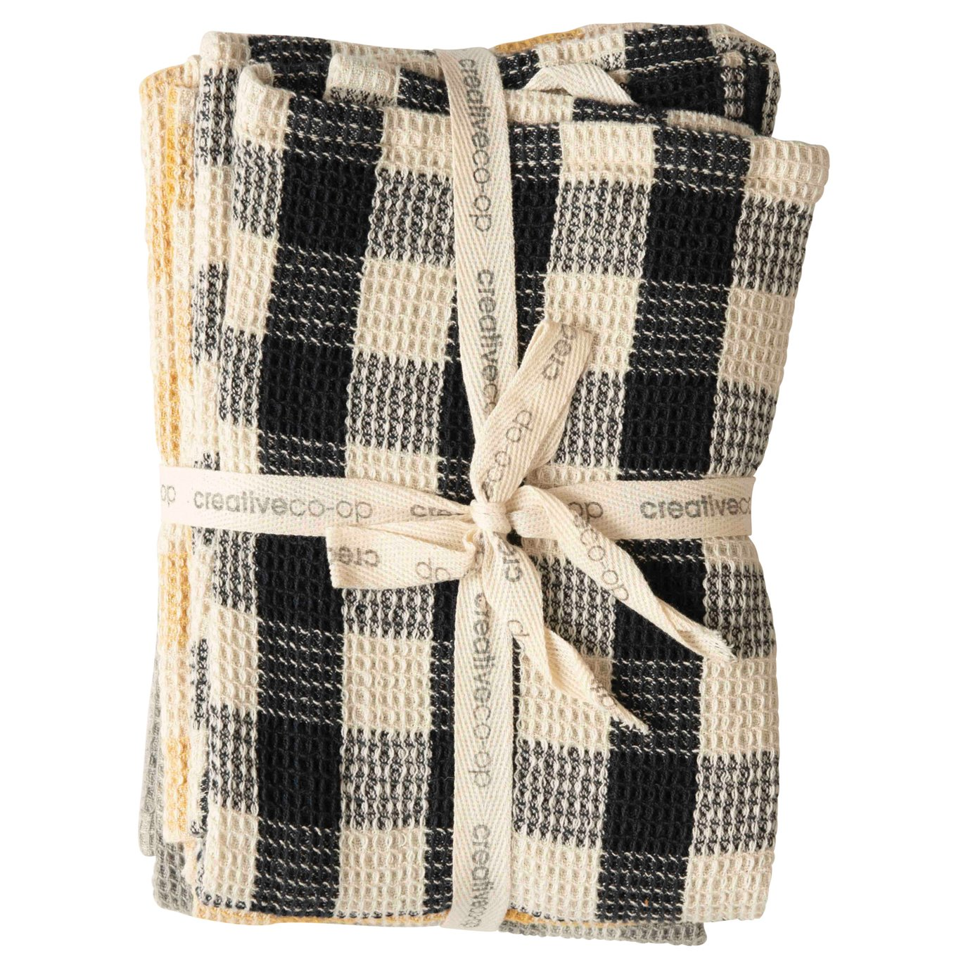 Gingham Cotton Waffle Weave Tea Towels (Set of 3 Colors)