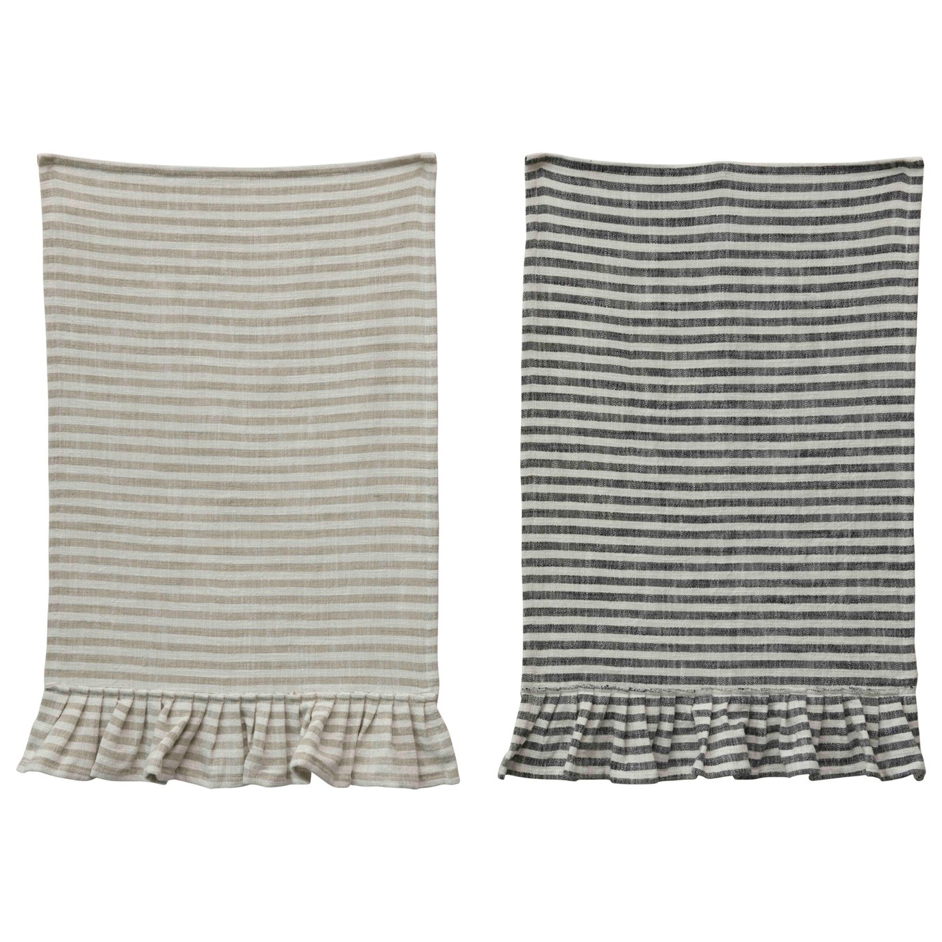 Striped Cotton Tea Towel with Ruffles (Set of 2 Colors)