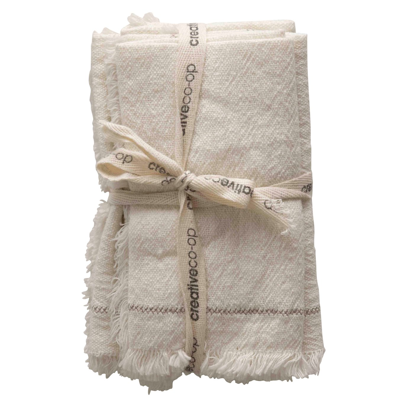 """18"""" Square Cotton Woven Napkins with Stitch Accent & Fringe (Set of 4)"""
