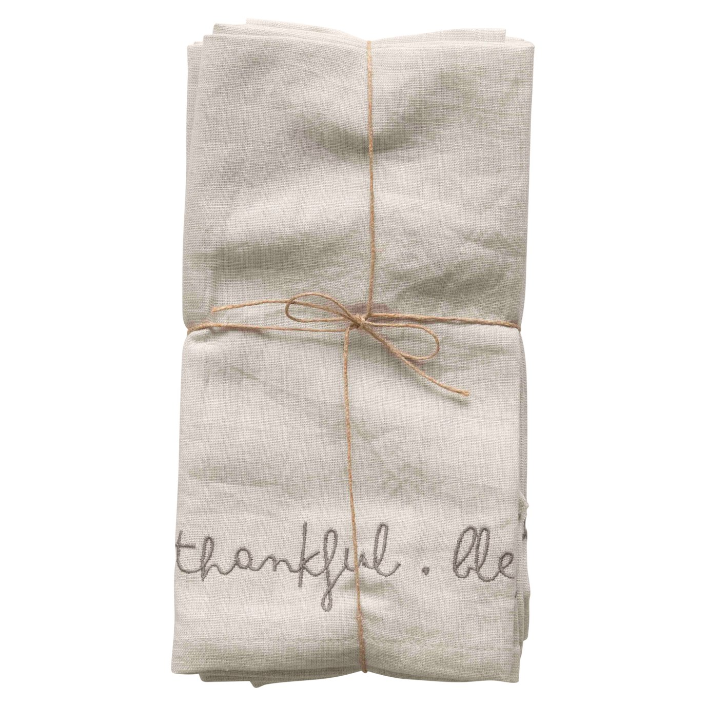 """18"""" Square Embroidered """"Grateful, Thankful, Blessed"""" Cotton/Linen Woven Napkins (Set of 4 Pieces)"""