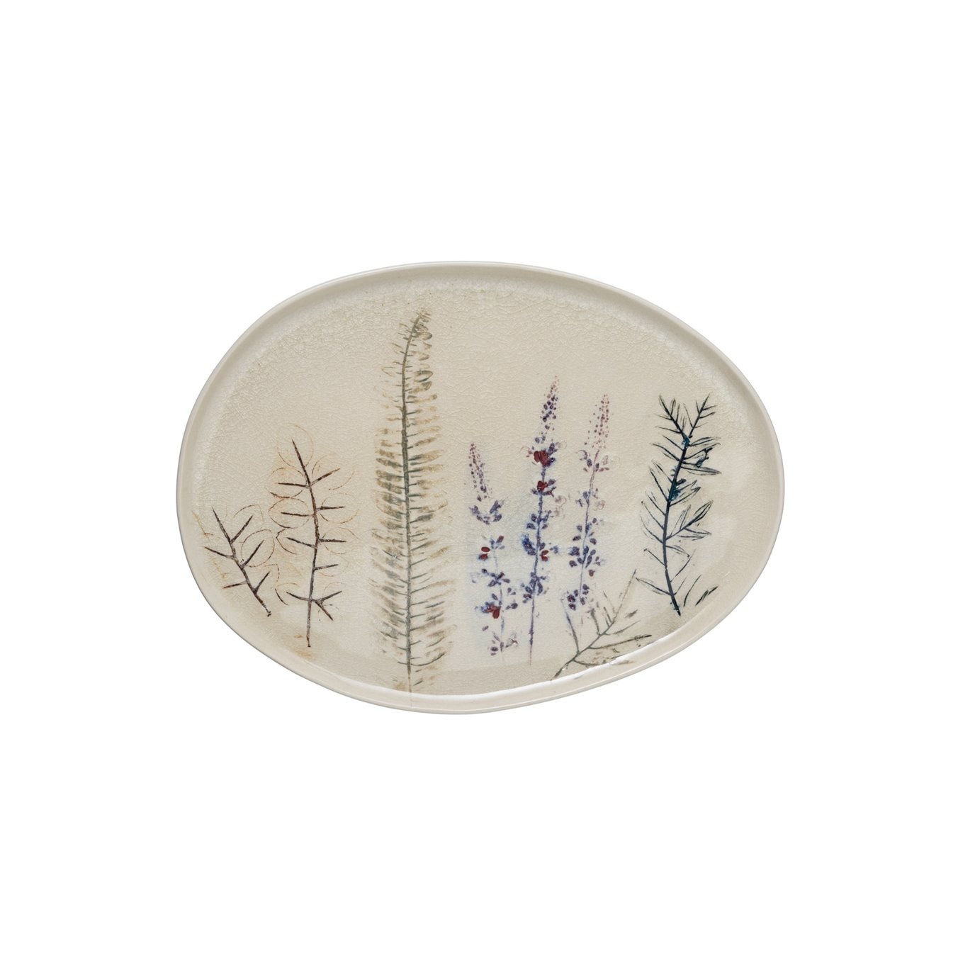 """13.75"""" Oval Debossed Floral Stoneware Platter with Reactive Crackle Glaze Finish (Each one will vary)"""