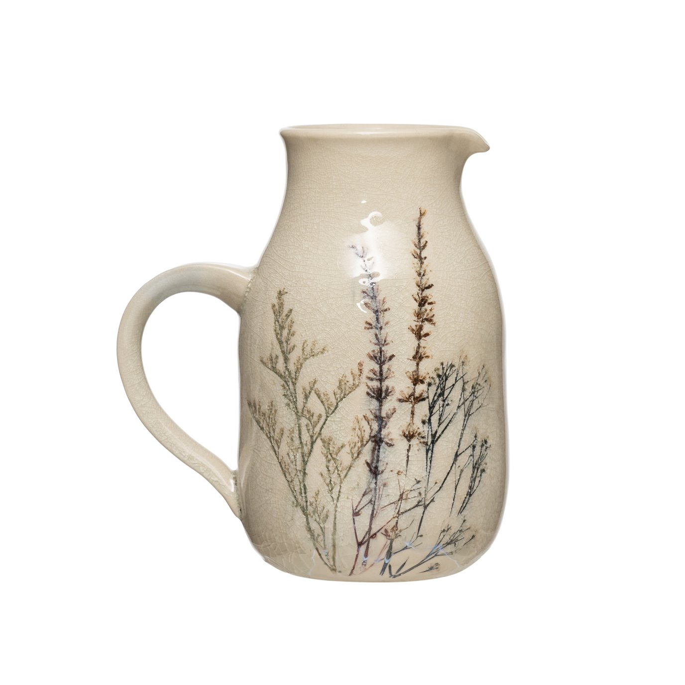 32 oz. Stoneware Debossed Floral Pitcher with Reactive Crackle Glaze Finish (Each One Will Vary)