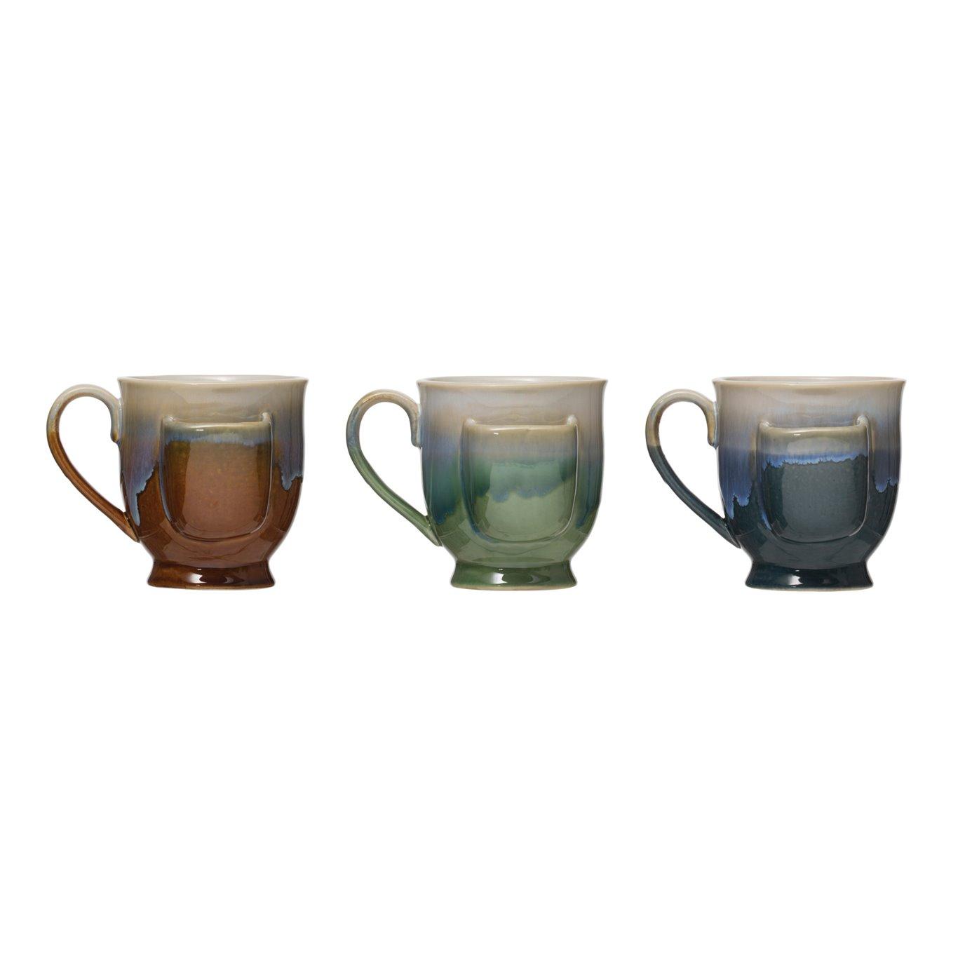 Stoneware Mug with Teabag Pocket & Reactive Glaze Finish (Set of 2 Colors)