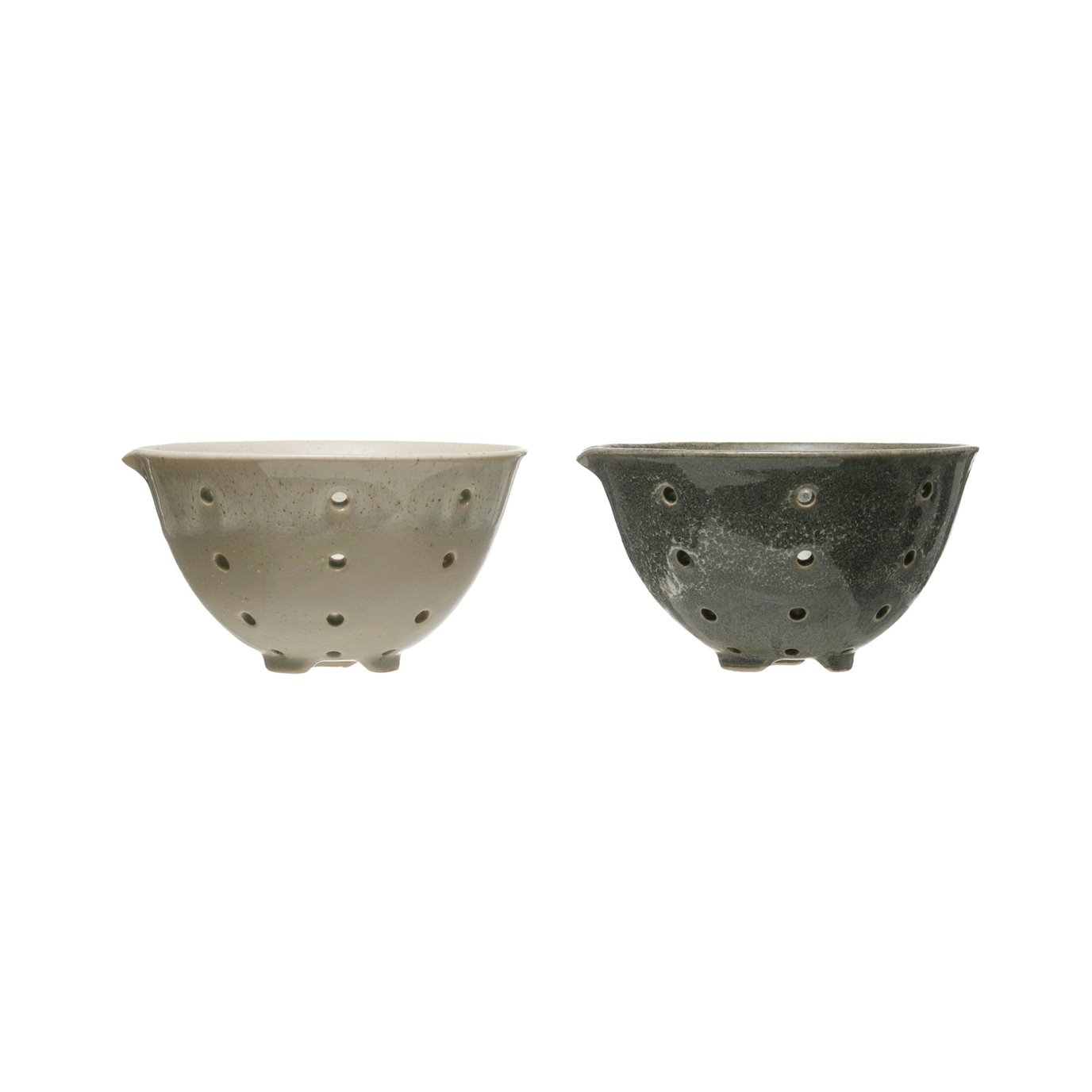 Round Stoneware Berry Bowls with Spouts & Reactive Glaze Finishes (Set of 2 Colors)