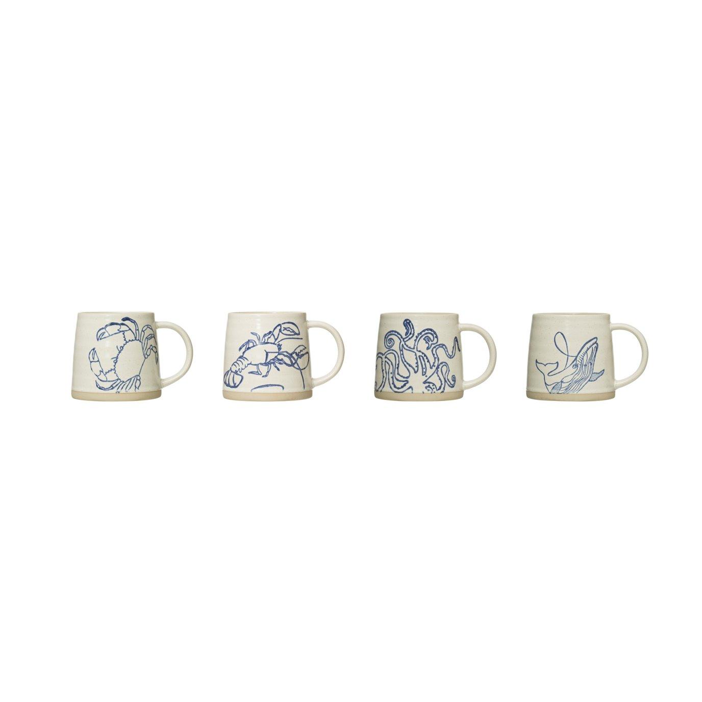 12 oz. Hand-Painted Stoneware Clay Mug (Set of 4 Styles)