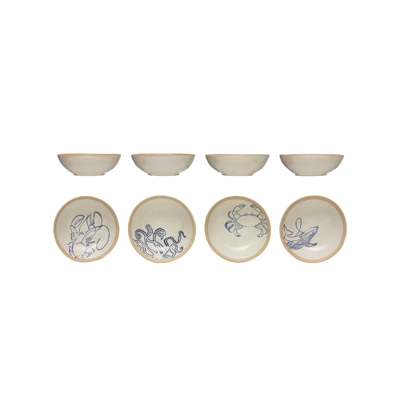 Hand-Painted Stoneware Bowl with Sea Life (Set of 4 Styles)