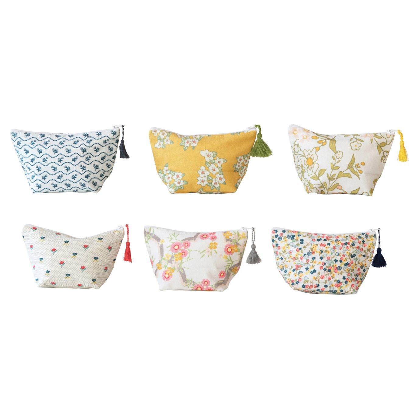 Cotton Printed Una Pouch w/ Tassel & Interior Coating, 6 Styles ©
