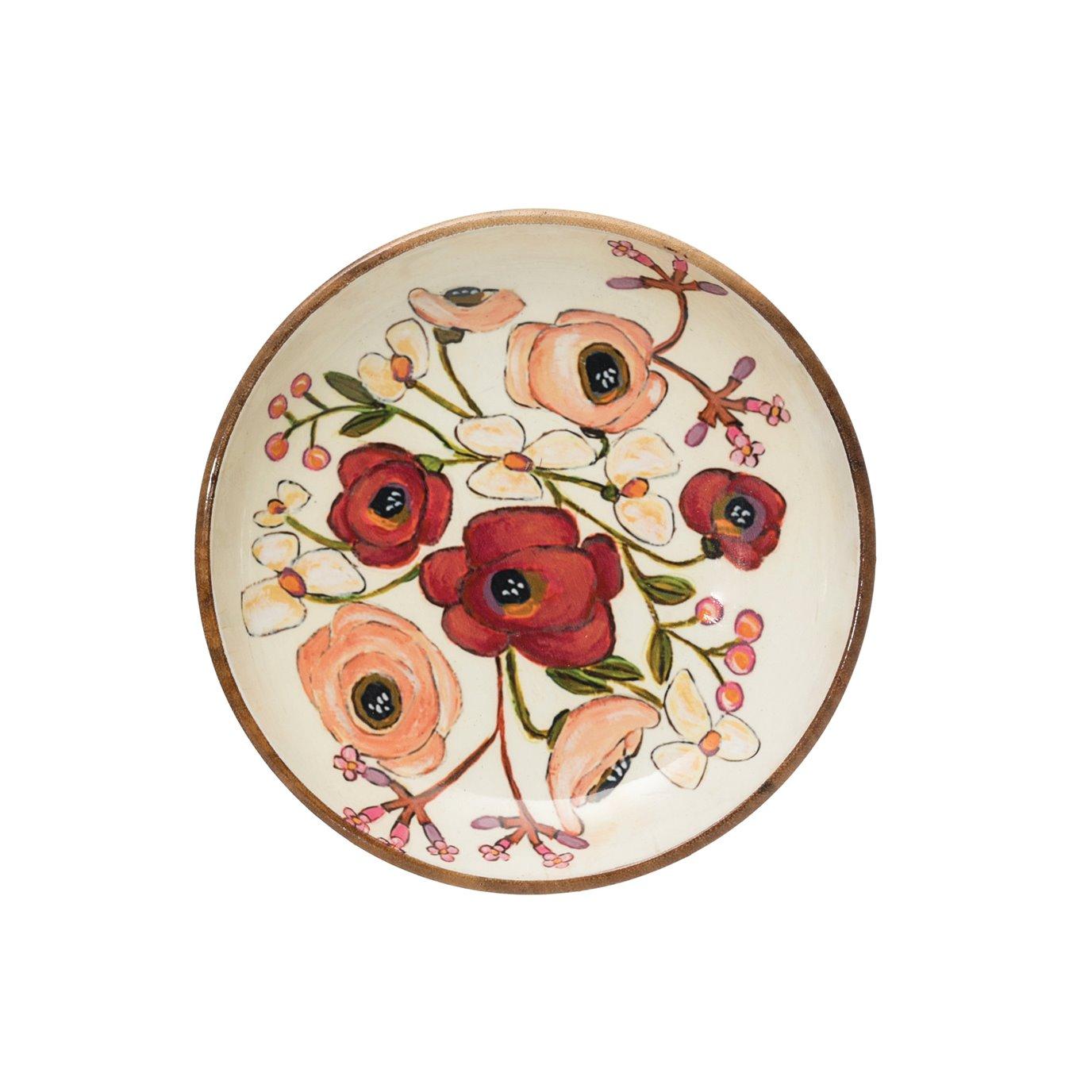 Enameled Acacia Wood Bowl with Flowers