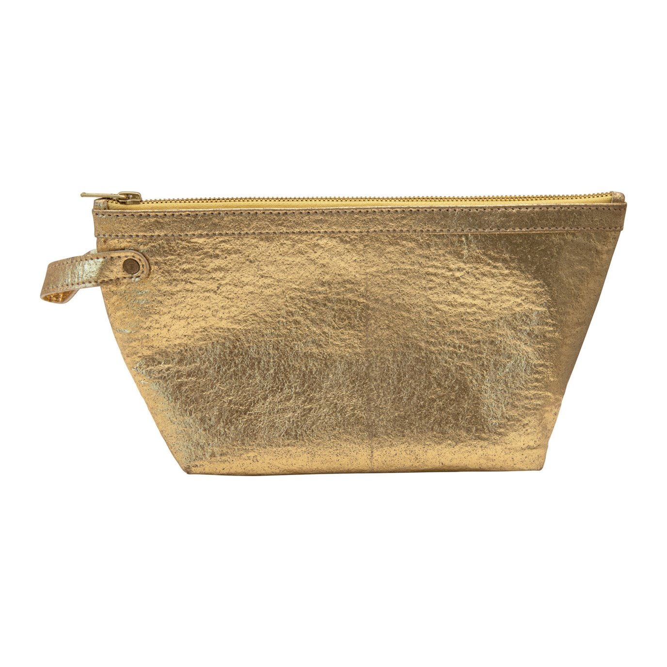 Recycled Leather Zip Pouch, Gold Color