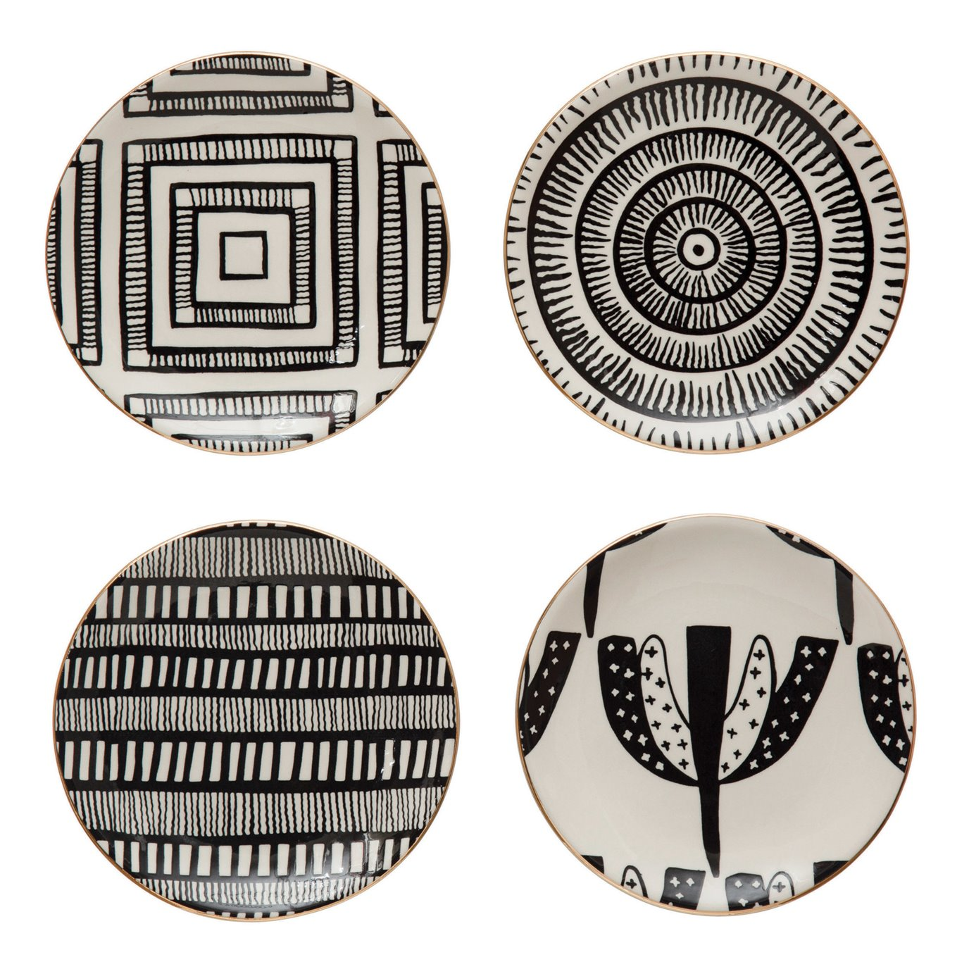 "5-1/2"" Round Stoneware Plate w/ Pattern & Gold Electroplating, Black & White, 4 Styles"