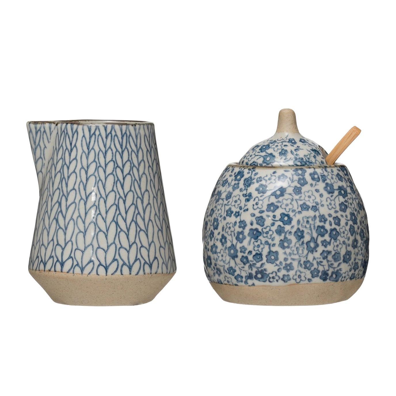 Hand-Painted Stoneware Sugar & Creamer (Set of 2 Pieces)