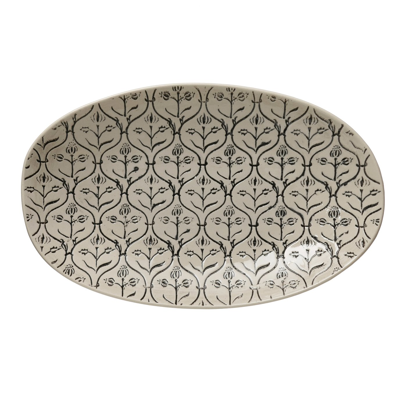 Hand-Stamped Stoneware Platter w/ Embossed Pattern, Black & Cream Color
