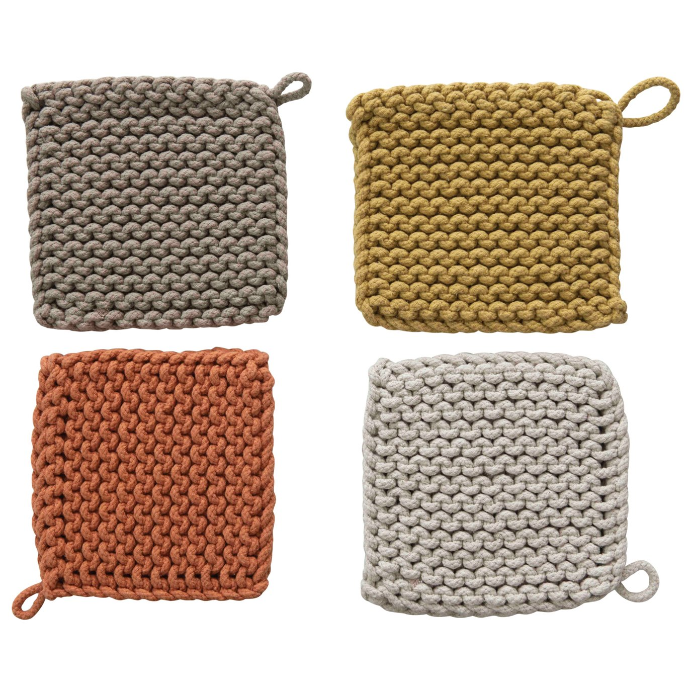 Square Crocheted Potholders/Hot Pads (Set of 4 Colors)