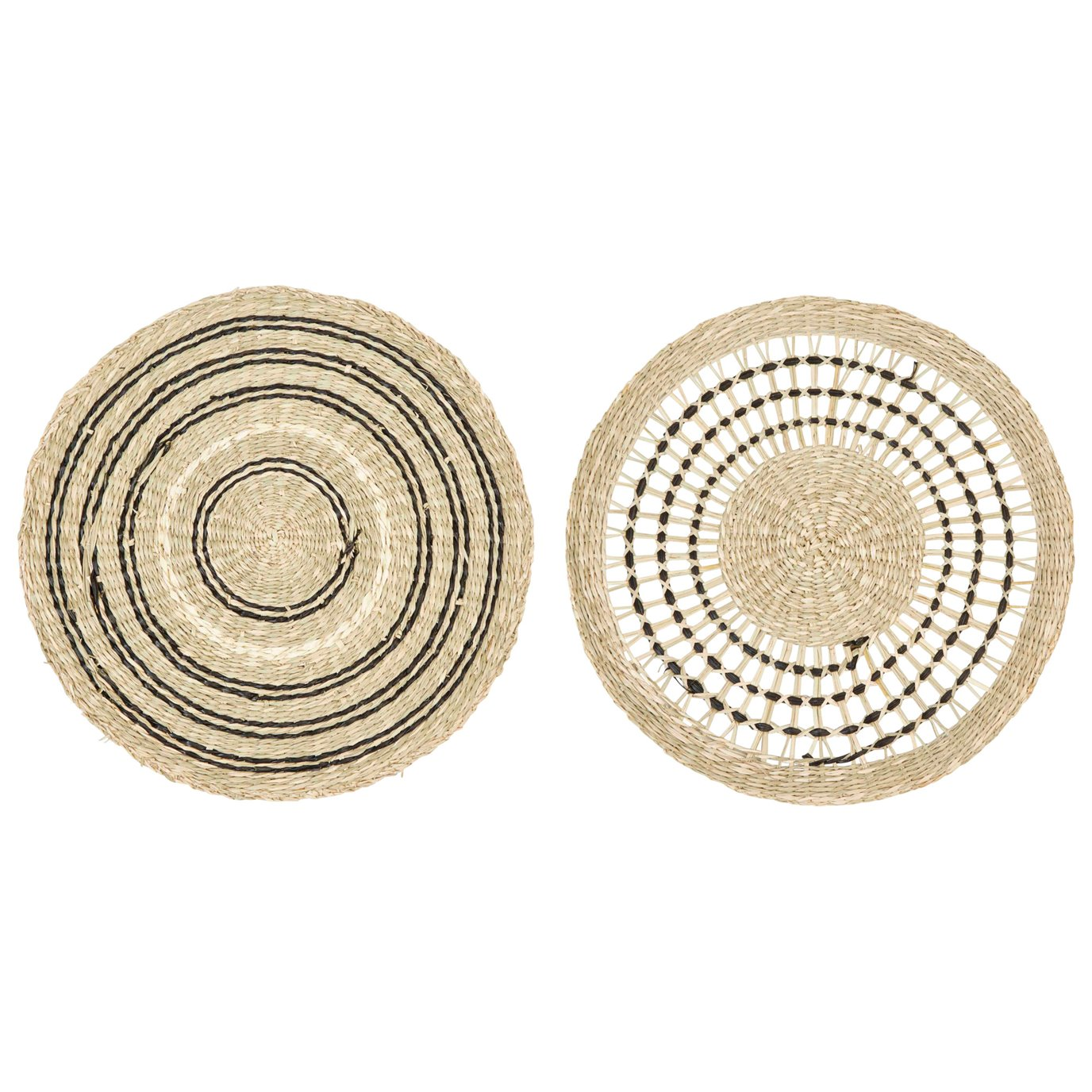"""15"""" Round Handwoven Seagrass Placemat (Set of 2 Styles)"""