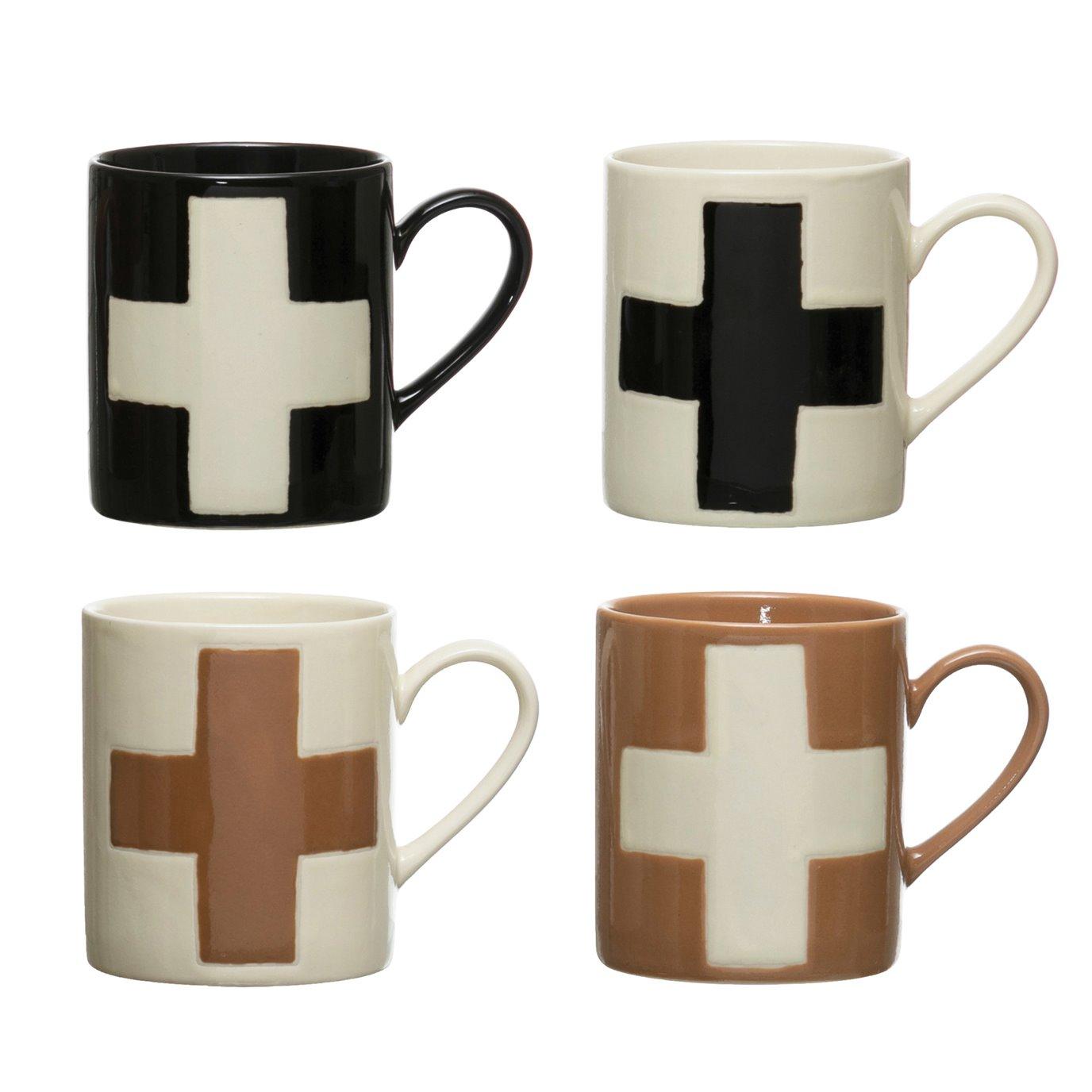 8 oz. Handmade Stoneware Mug w/ Wax Relief Swiss Cross, 4 Colors (Each One Will Vary)