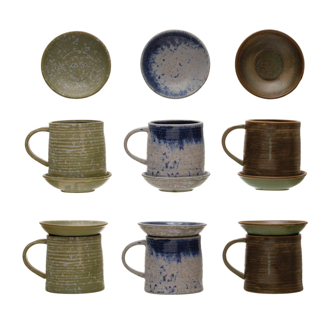 """12 oz. Stoneware Mug w/ 4-1/4"""" Round Snack Plate Topper, Reactive Glaze, Set of 2, 3 Colors (Each One Will Vary)"""