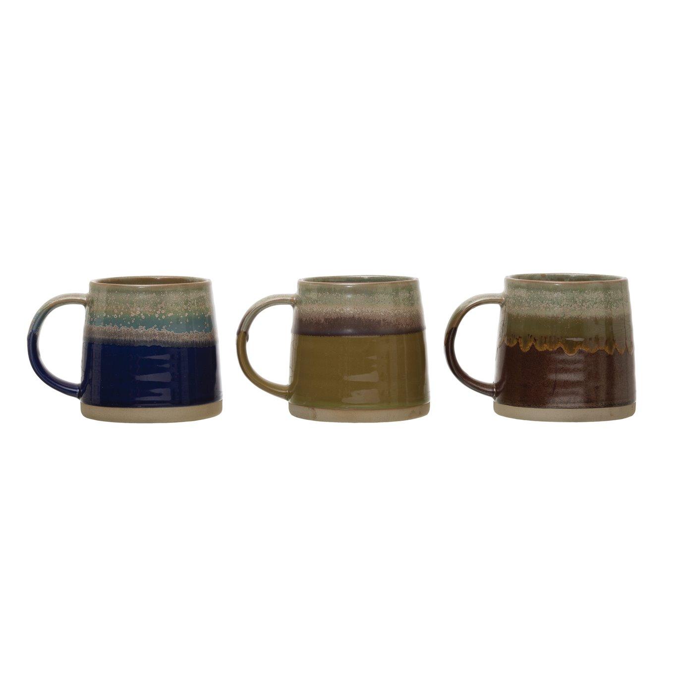 Stoneware Mug, Reactive Glaze, 3 Colors (Each One Will Vary)