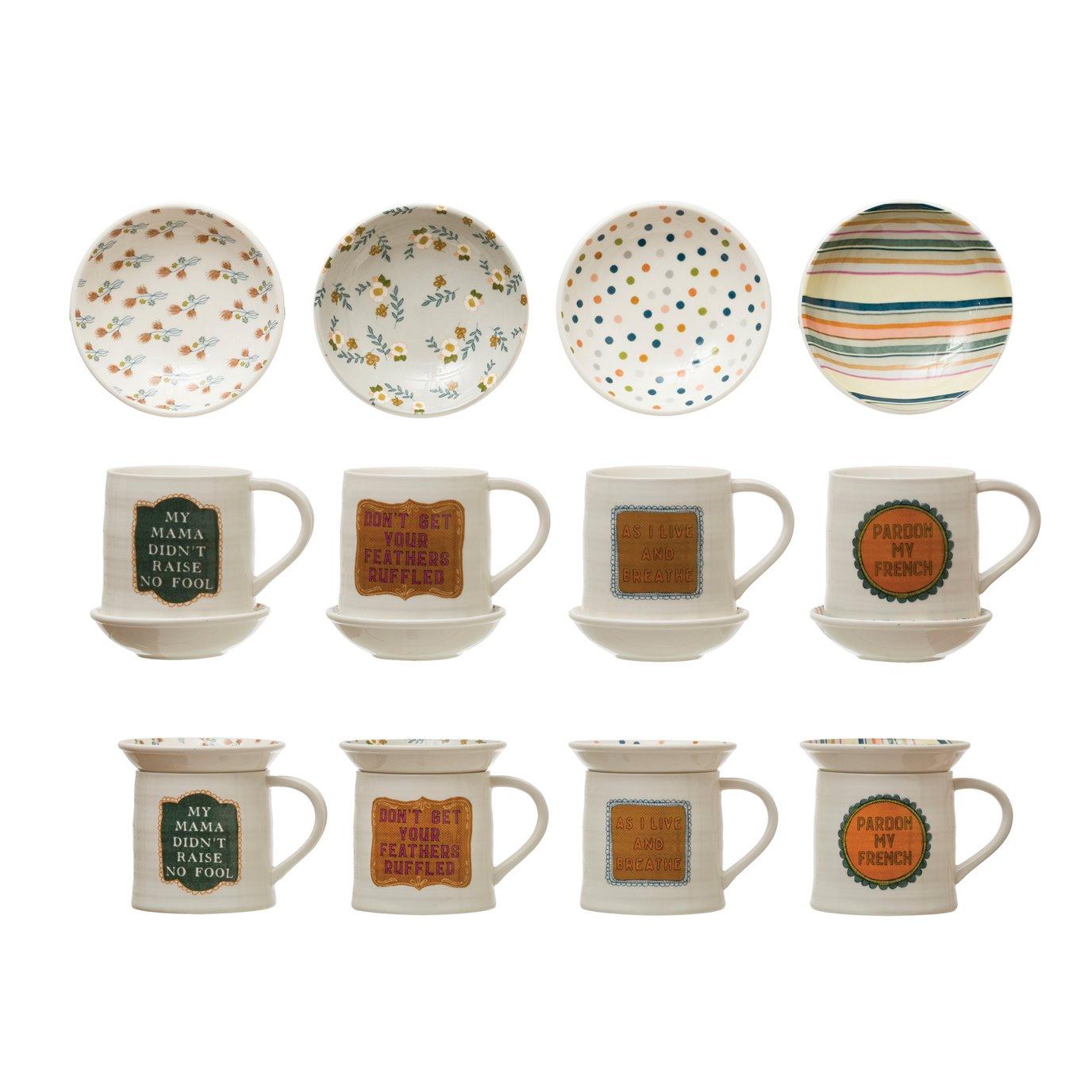 "12 oz. Stoneware Mug w/ 4-1/4"" Round Snack Plate Topper & Saying, Set of 2, 4 Styles ©"