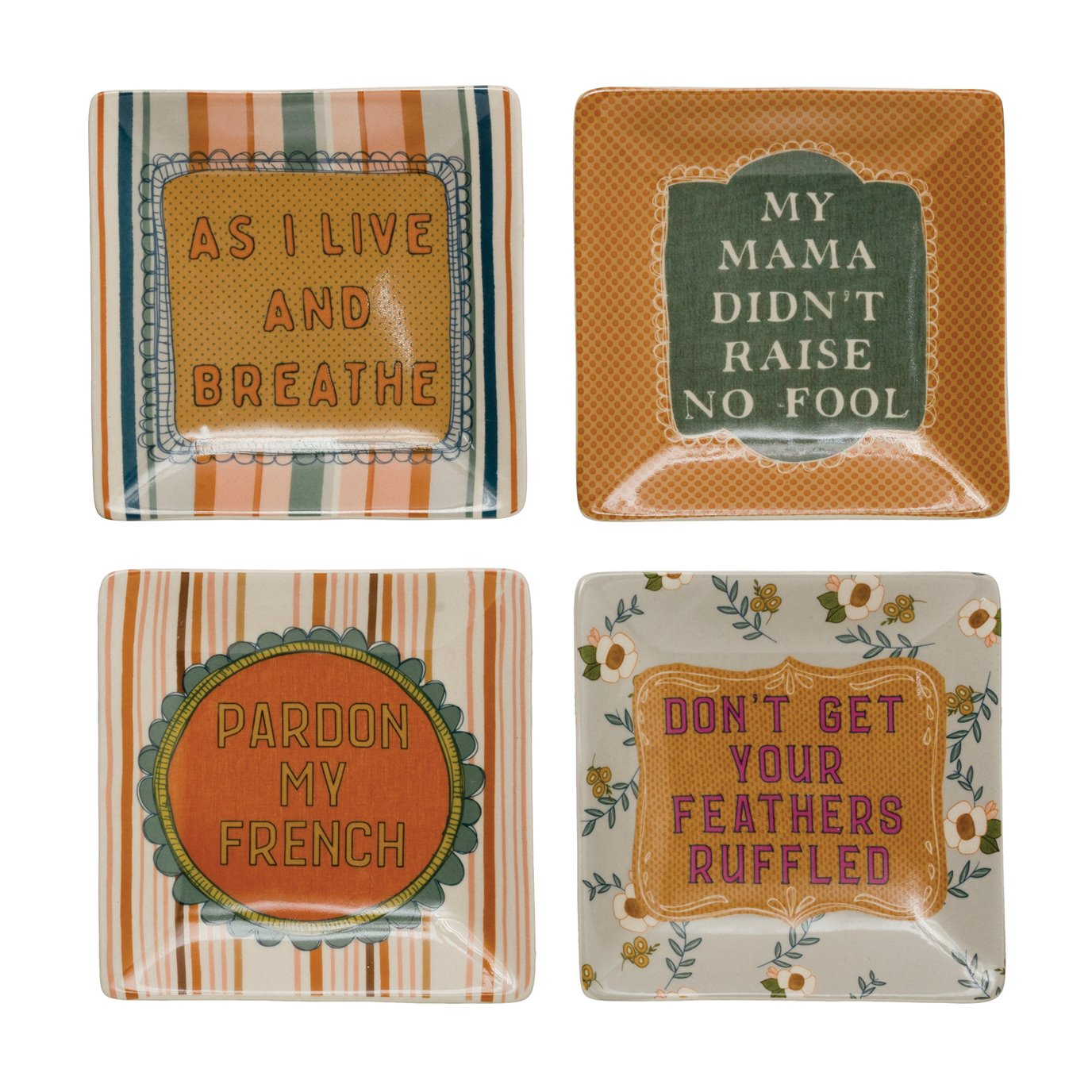 """5"""" Square Stoneware Plate w/ Saying, 4 Styles ©"""