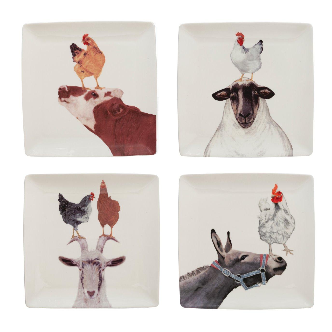 "9"" Square Stoneware Plate w/ Farm Animals, 4 Styles ©"