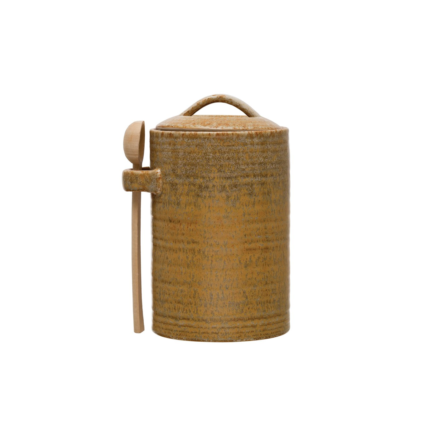 Stoneware Canister with Wood Spoon