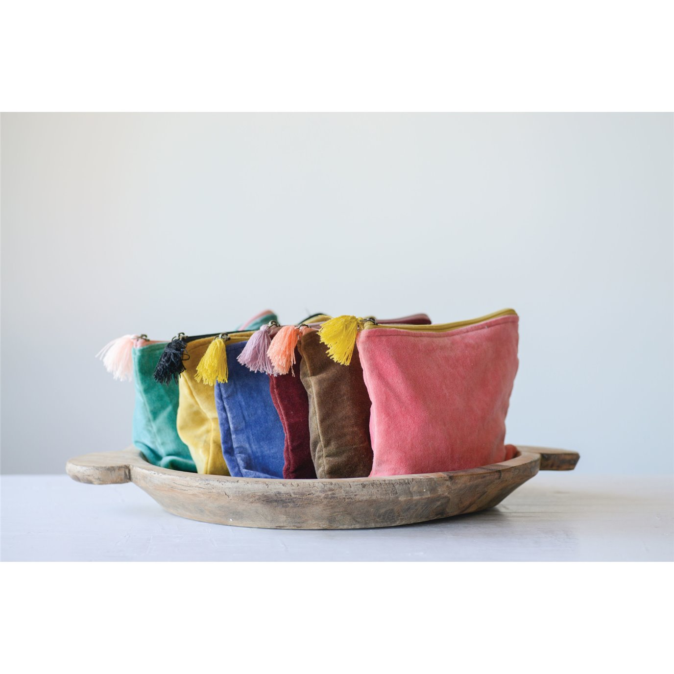Large Velvet Zip Pouch with Tassel (Set of 6 Colors)