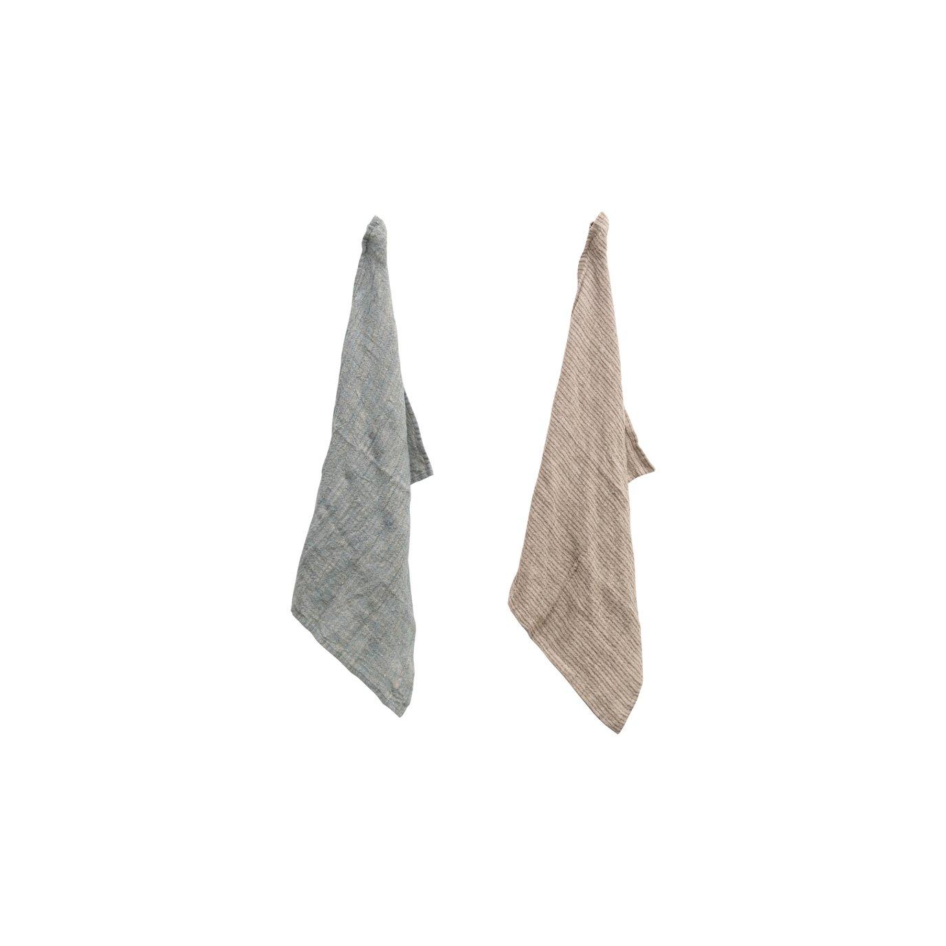 Woven Linen Striped Tea Towel, 2 Colors