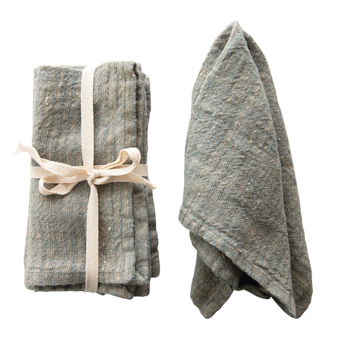 Blue Square Woven Striped Linen Napkin (Set of 4)