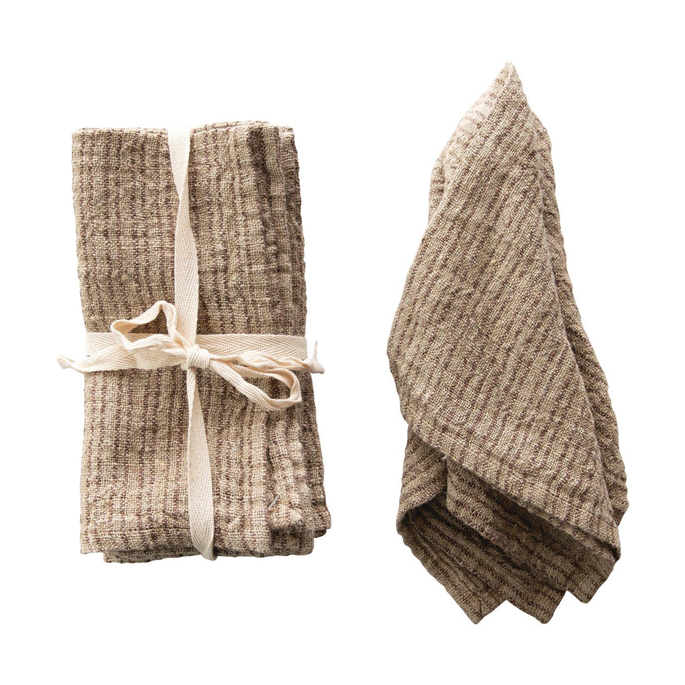 Brown Square Woven Striped Linen Napkin (Set of 4)