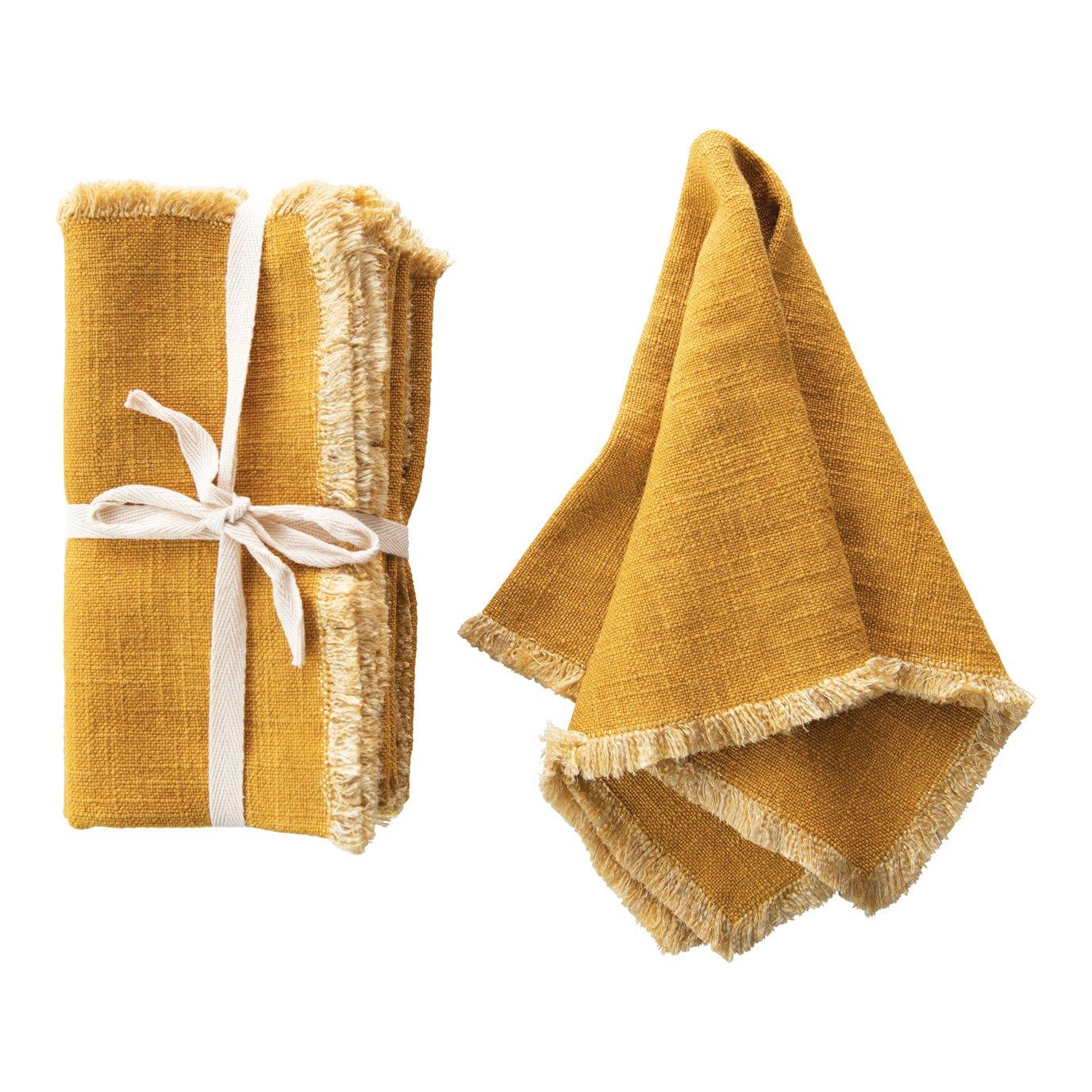 Mustard Square Linen Blend Napkin with Fringe Trim (Set of 4)