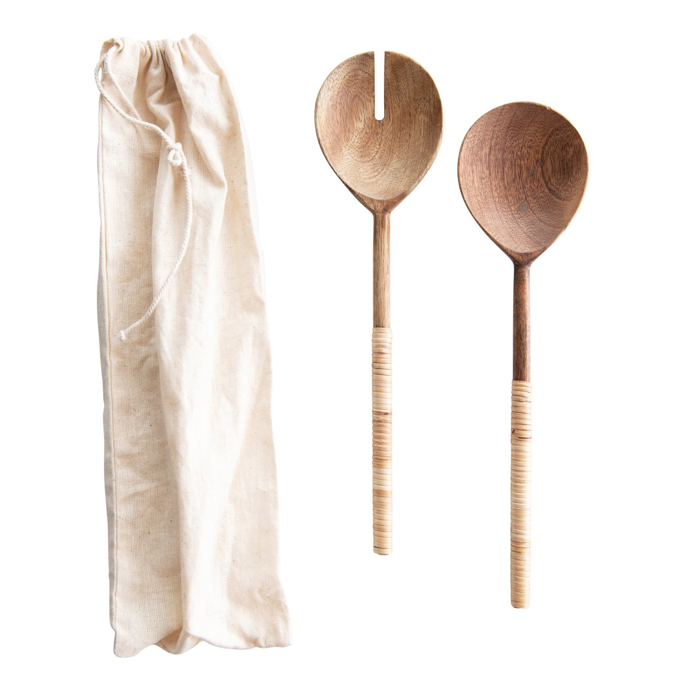 Wood Salad Servers with Bamboo Handles (Set of 2)