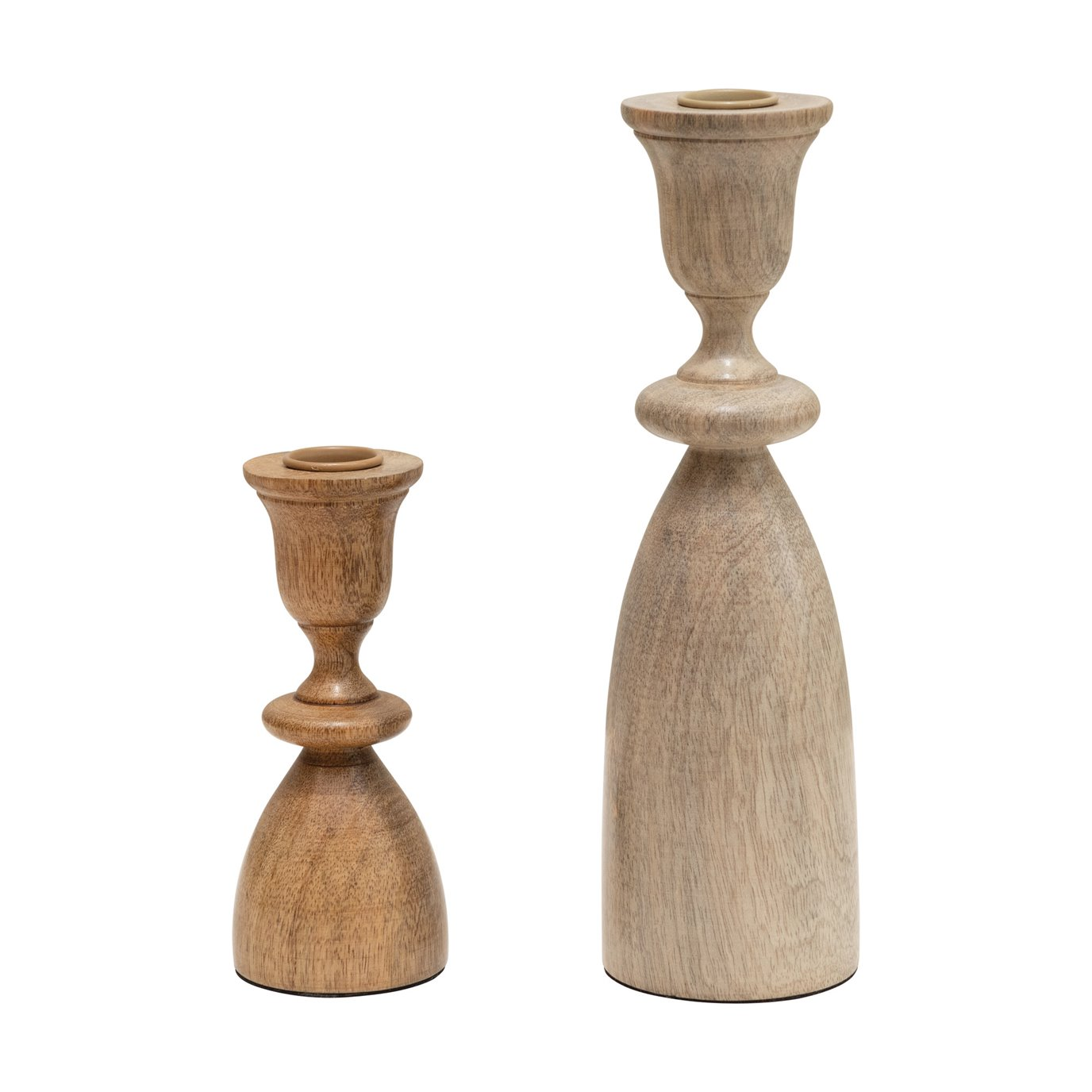 Natural Wood Taper Holders, Set of 2