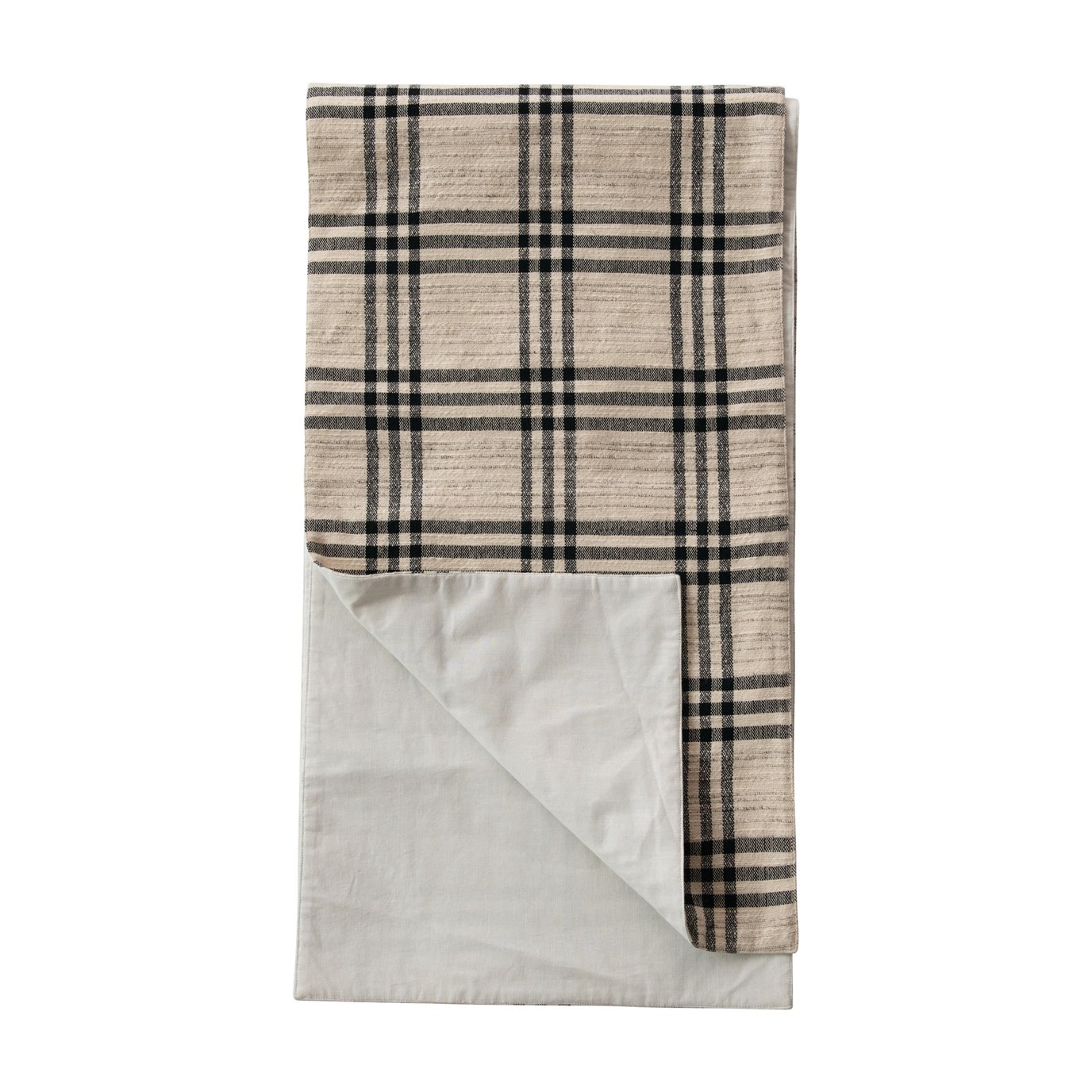 Black Plaid Woven Cotton and Wool Table Runner