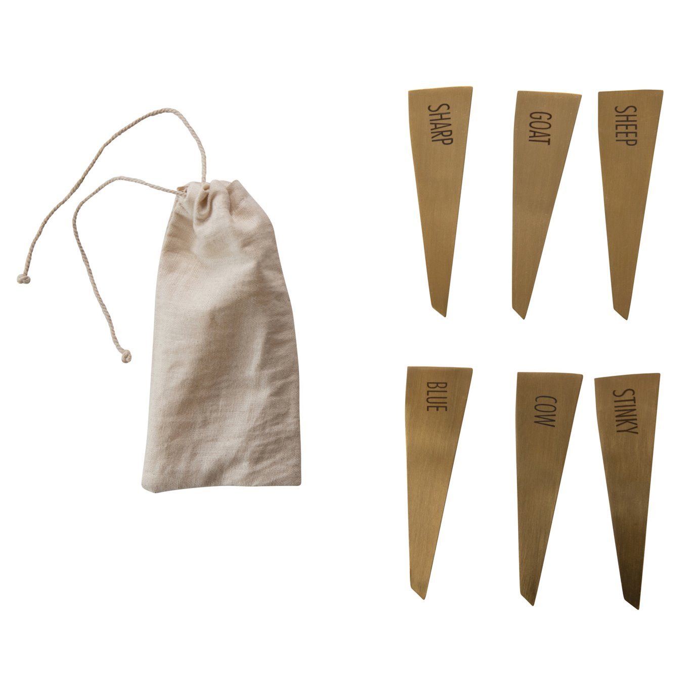 Brass Stainless Steel Cheese Markers (Set of 6)