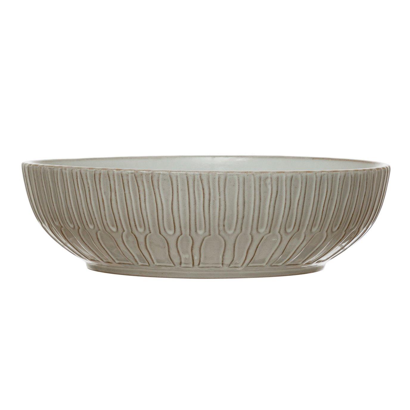 Debossed Stoneware Bowl, White