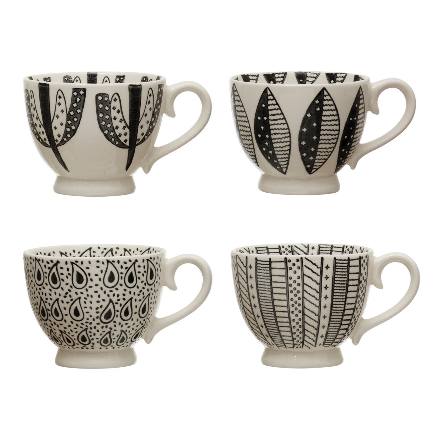 16 oz. Stoneware Mug w/ Pattern, Black & White, 4 Styles
