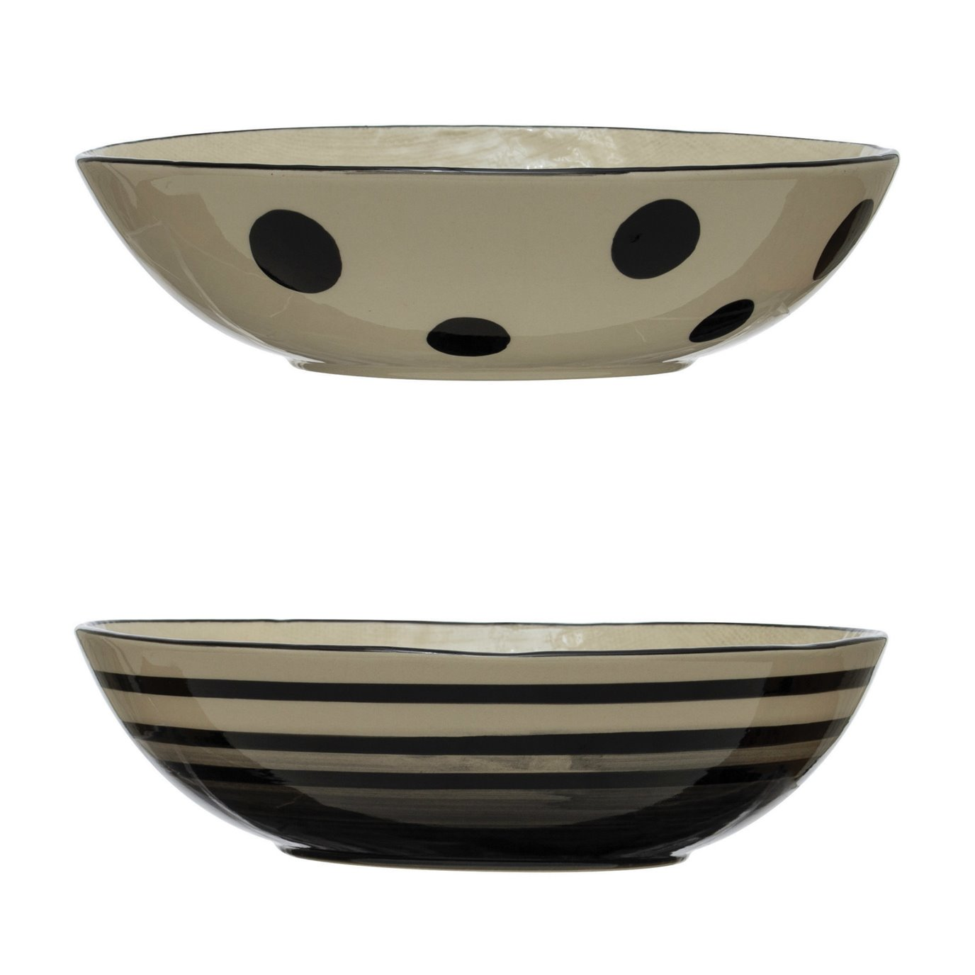 Hand-Painted Stoneware Serving Bowl, Black & White, 2 Styles