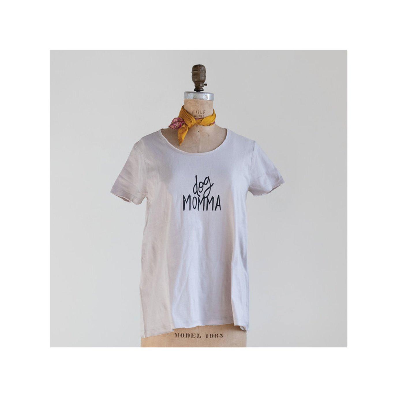 "Cotton Screen Printed T-Shirt ""Dog Momma"", Grey & Black, Medium"