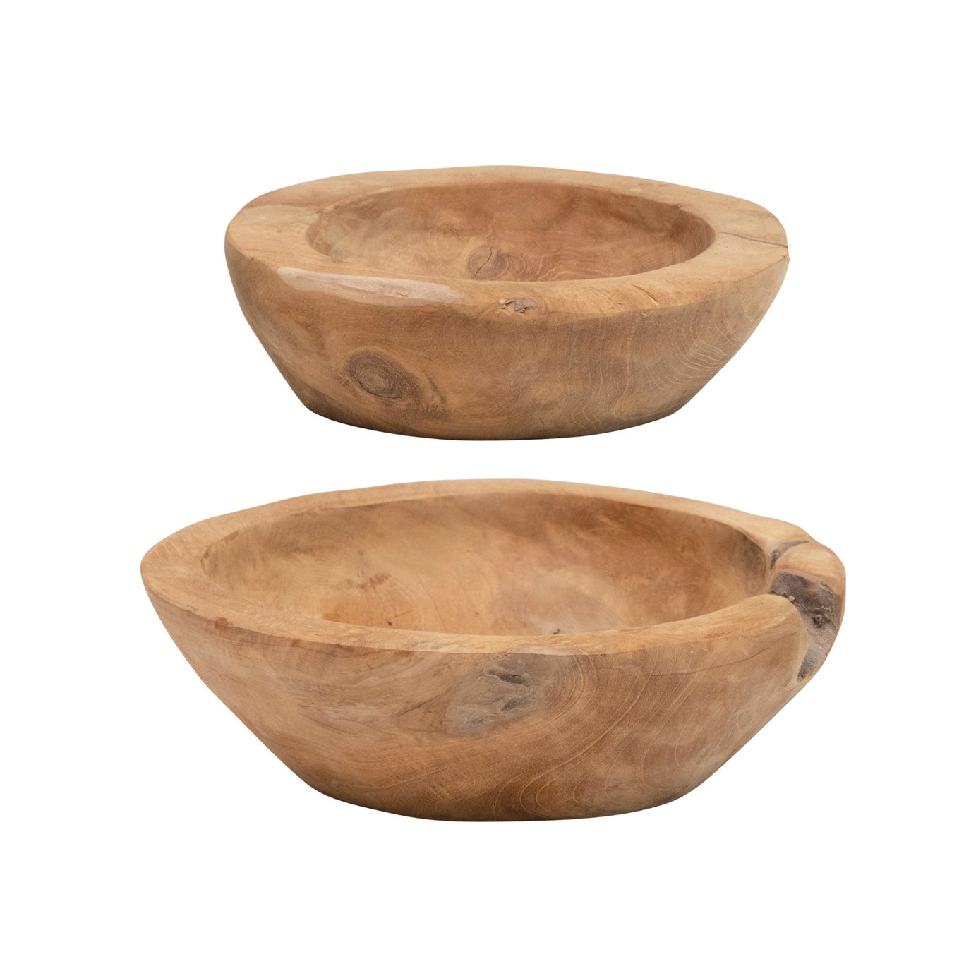Teakwood Bowls, Set of 2 (Each One Will Vary)