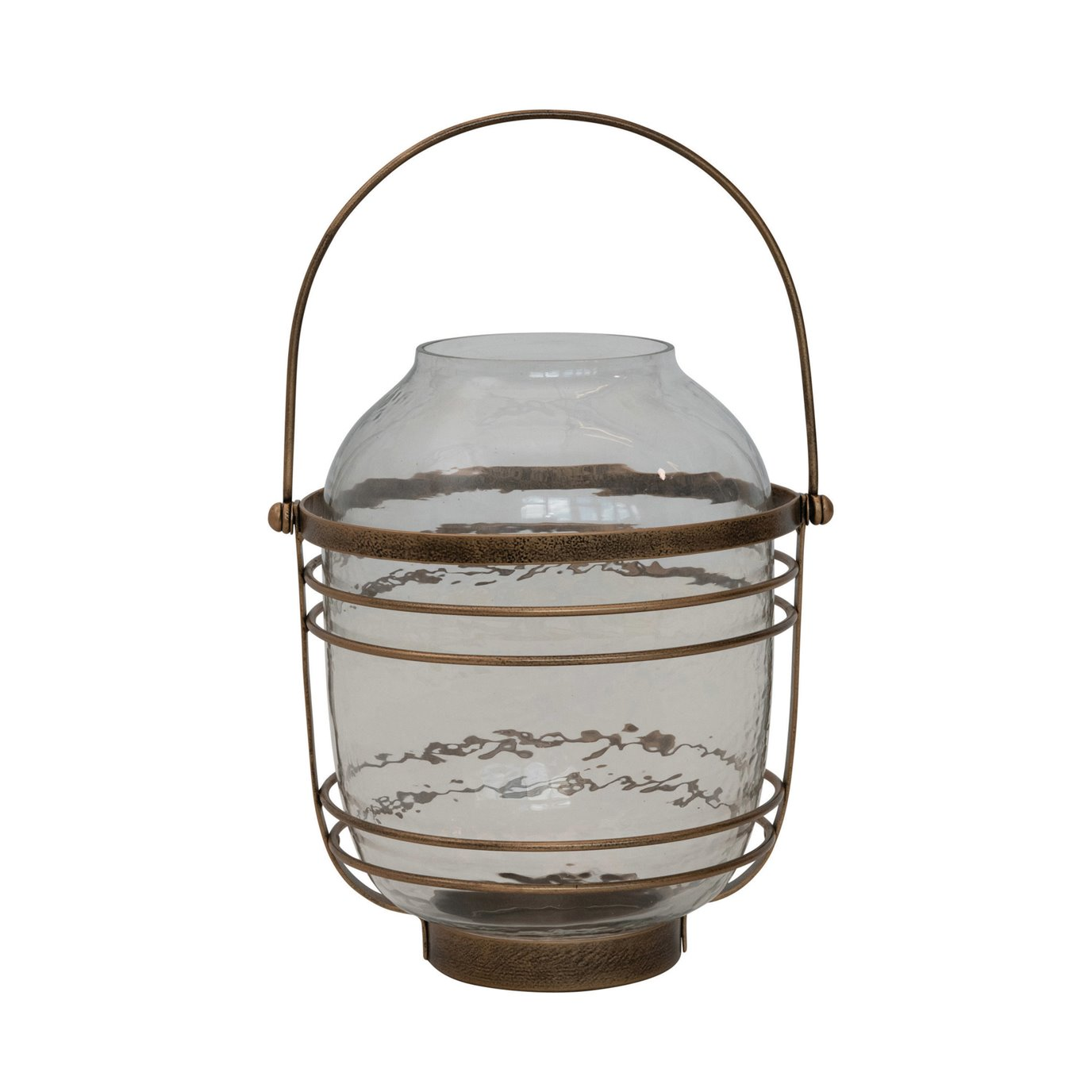 Metal & Glass Lantern with Handle, Antique Brass Finish