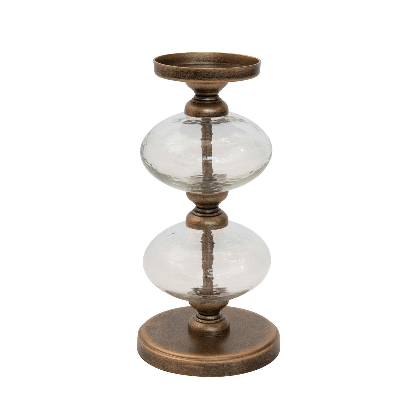 """Metal & Glass Pillar Holder, Antique Gold Finish (Holds 3"""" Pillar)"""