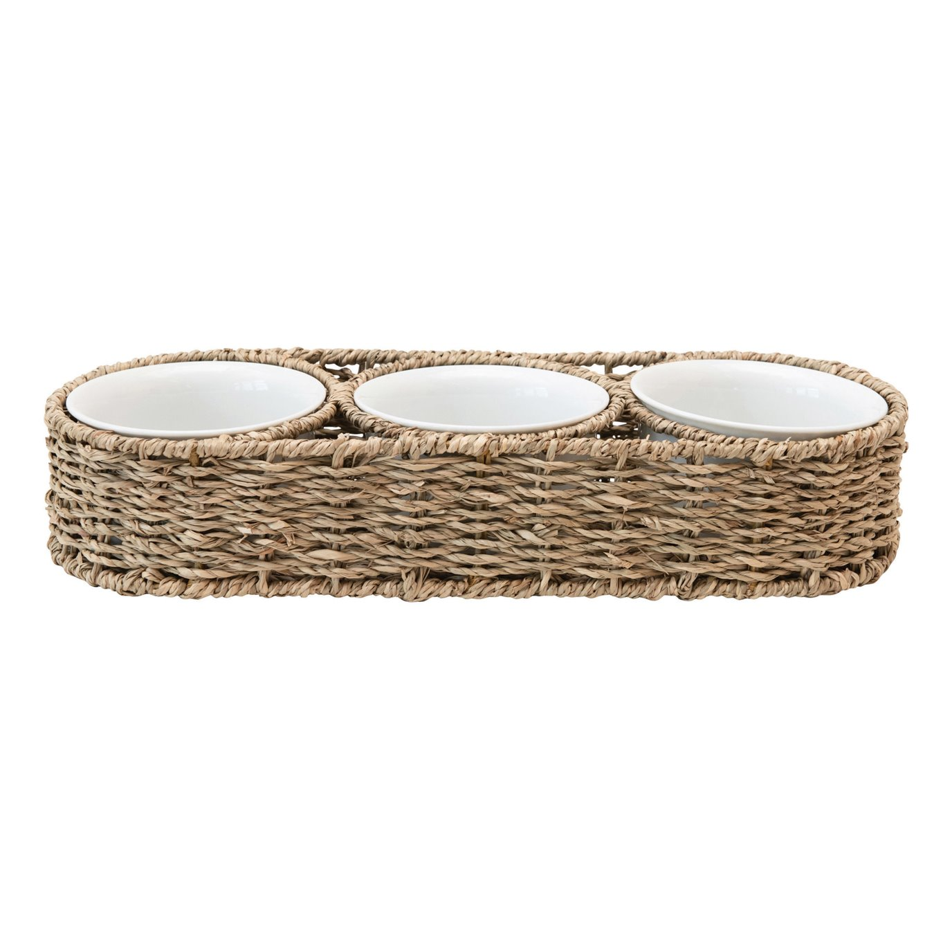 Hand-Woven Seagrass Basket with 6 oz. Ceramic Bowls, Set of 4