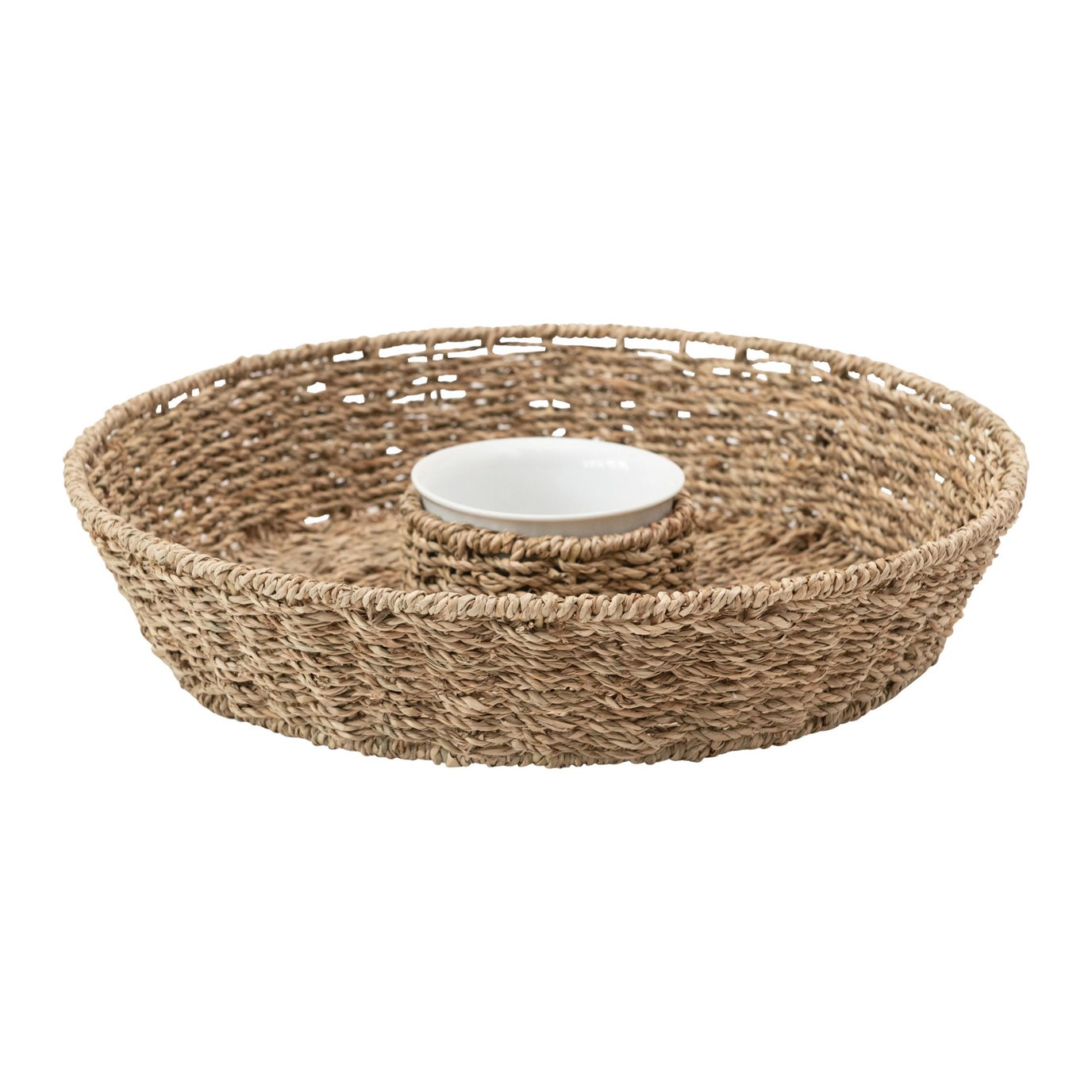 Hand-Woven Seagrass Chip & Dip Basket with 6 oz. Ceramic Bowl, Set of 2