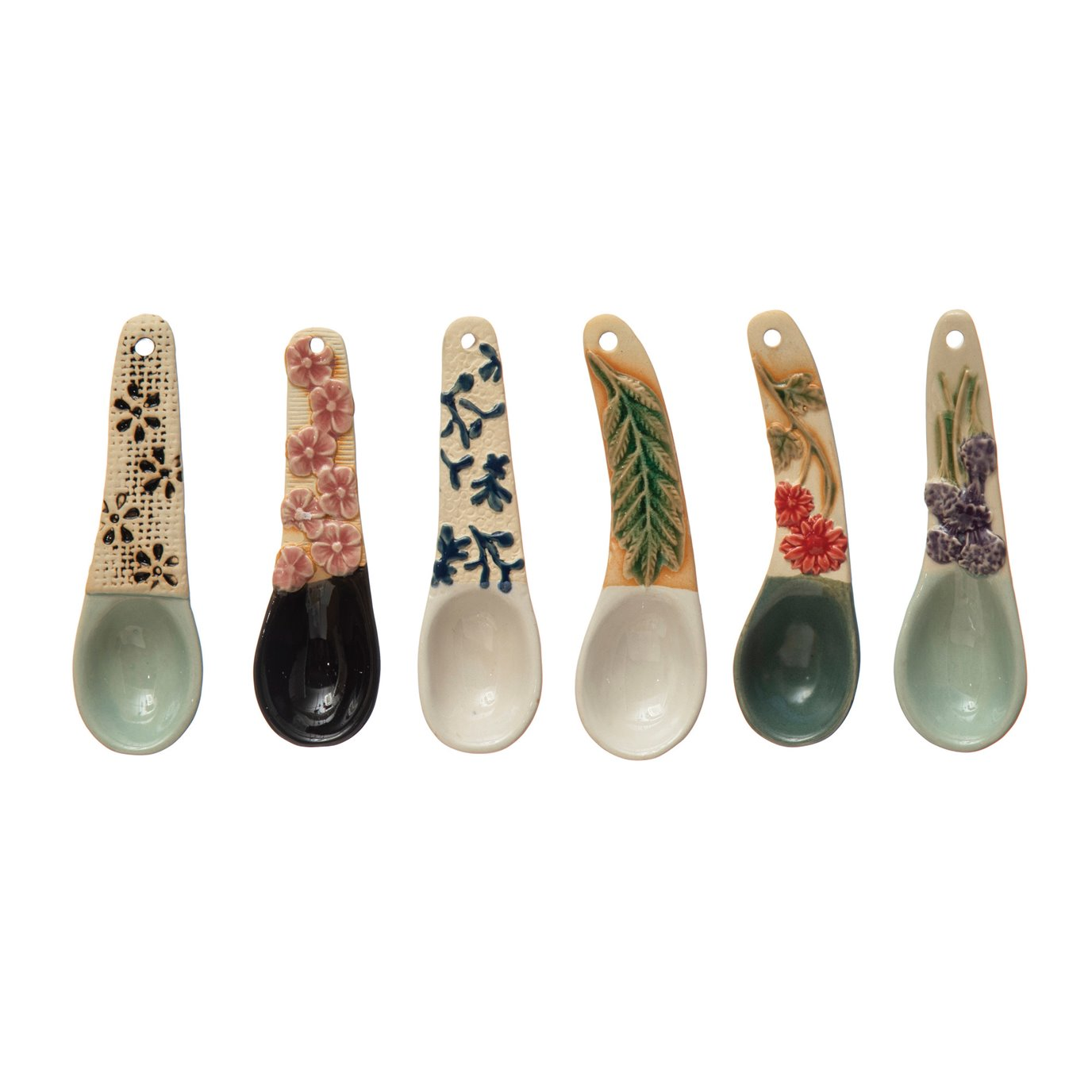 """4-1/4""""L Hand-Painted Stoneware Spoon w/ Floral Design Handle, 6 Styles (Each One Will Vary)"""