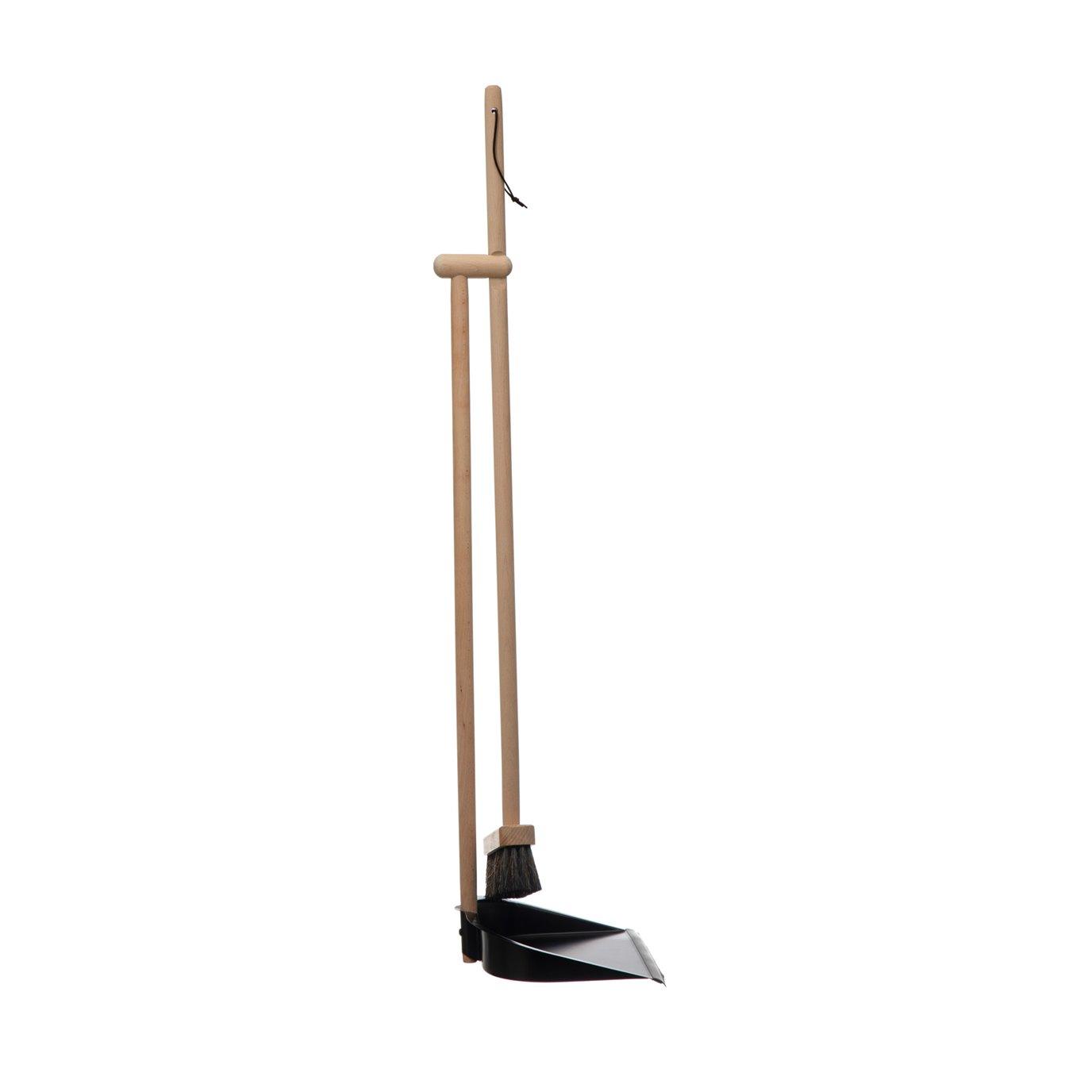 Beech Wood Broom & Standing Metal Dust Pan, Natural & Black, Set of 2