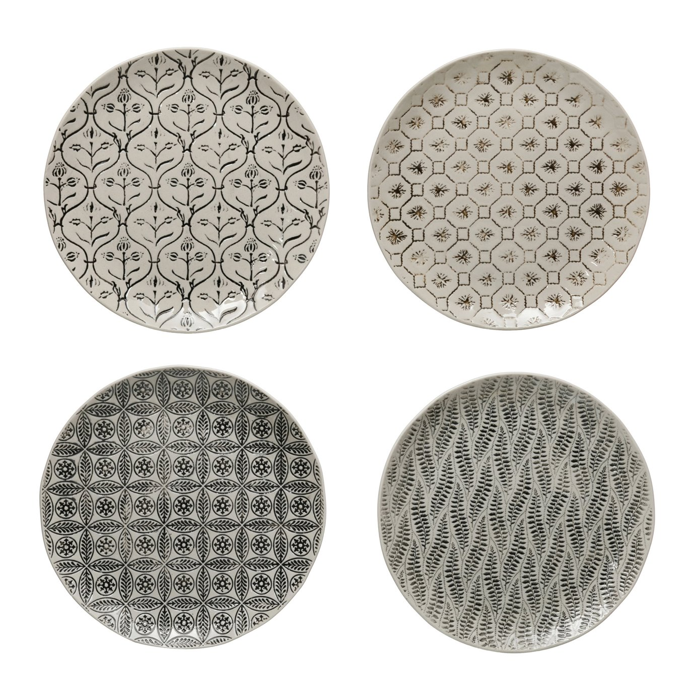 Round Hand-Stamped Stoneware Plate w/ Embossed Pattern, Black & Cream Color, 4 Styles