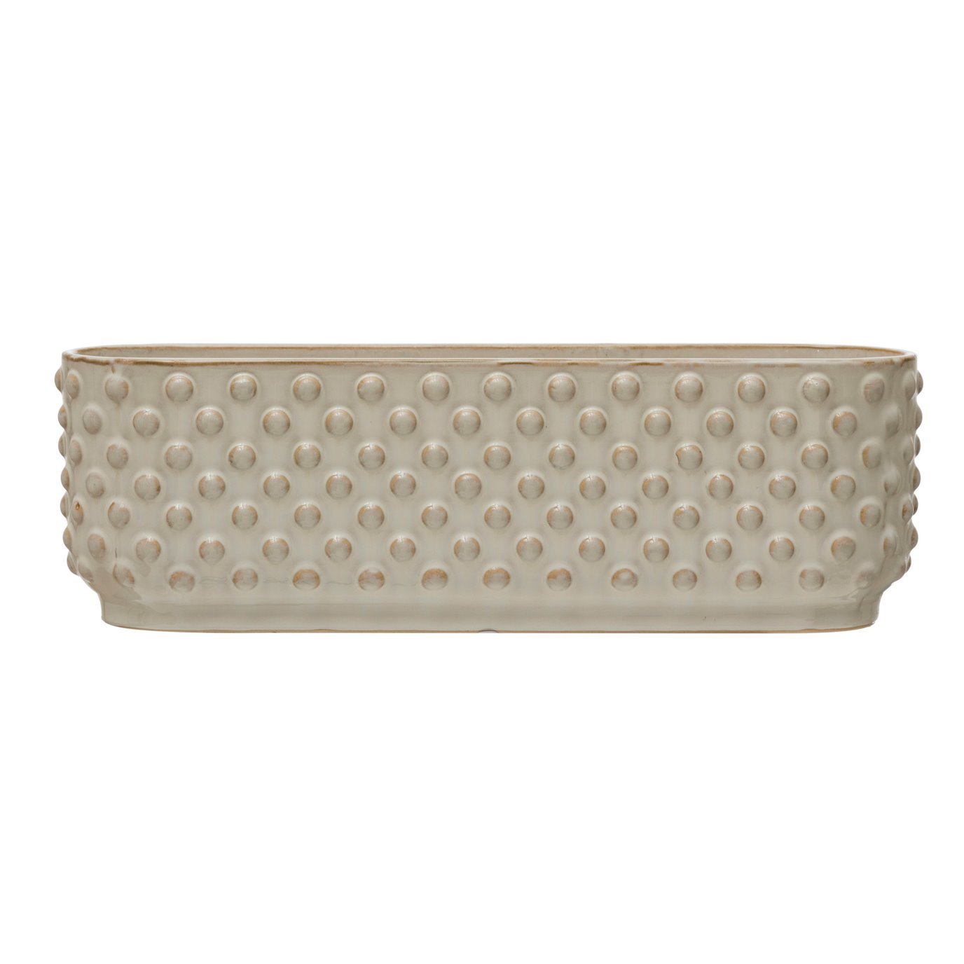 Stoneware Hobnail Window Planter with 3 Sections, Reactive Glaze, White (Each One Will Vary)