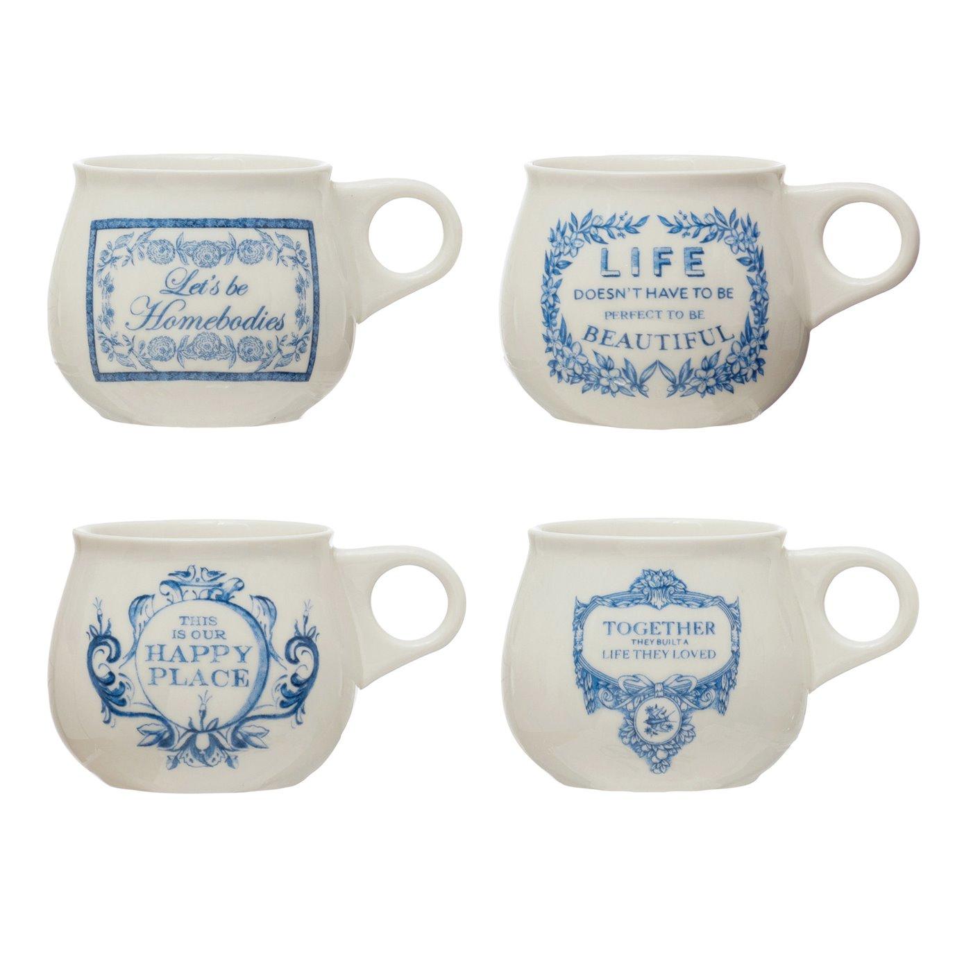 10 oz. Stoneware Mug w/ Saying, White & Blue, 4 Styles ©