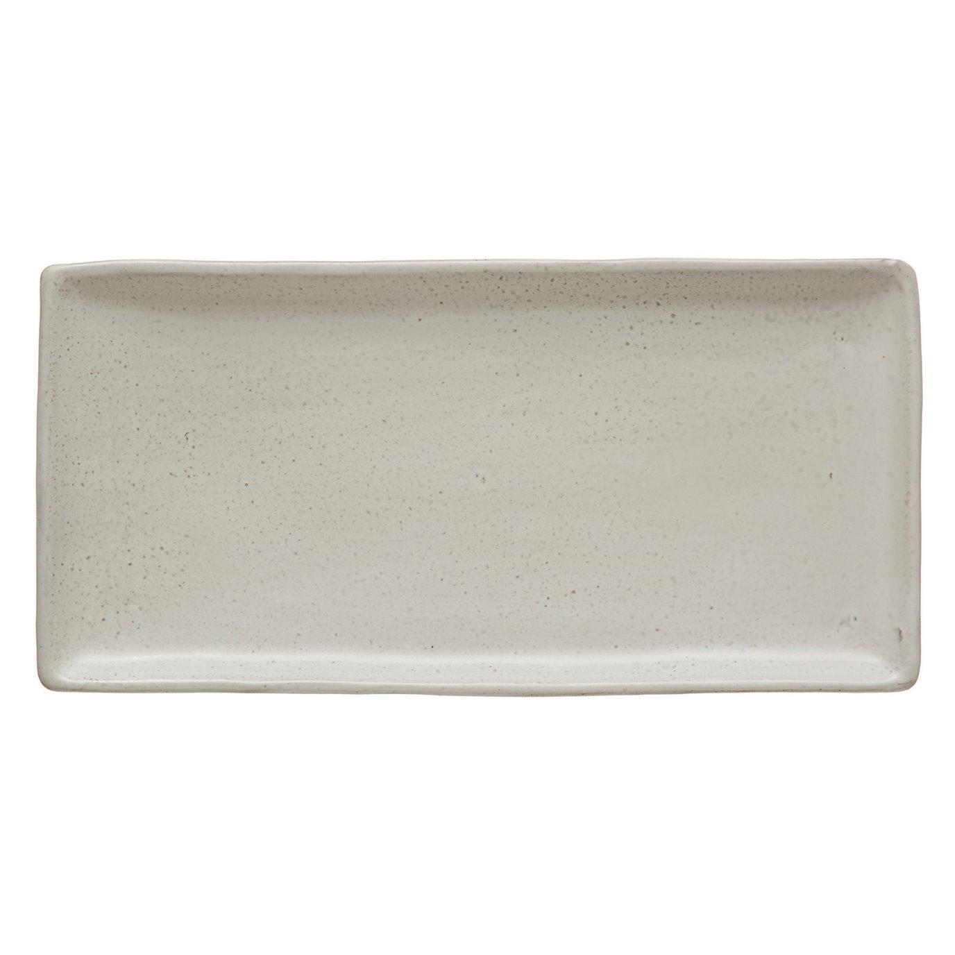 Stoneware Platter, Matte White Finish